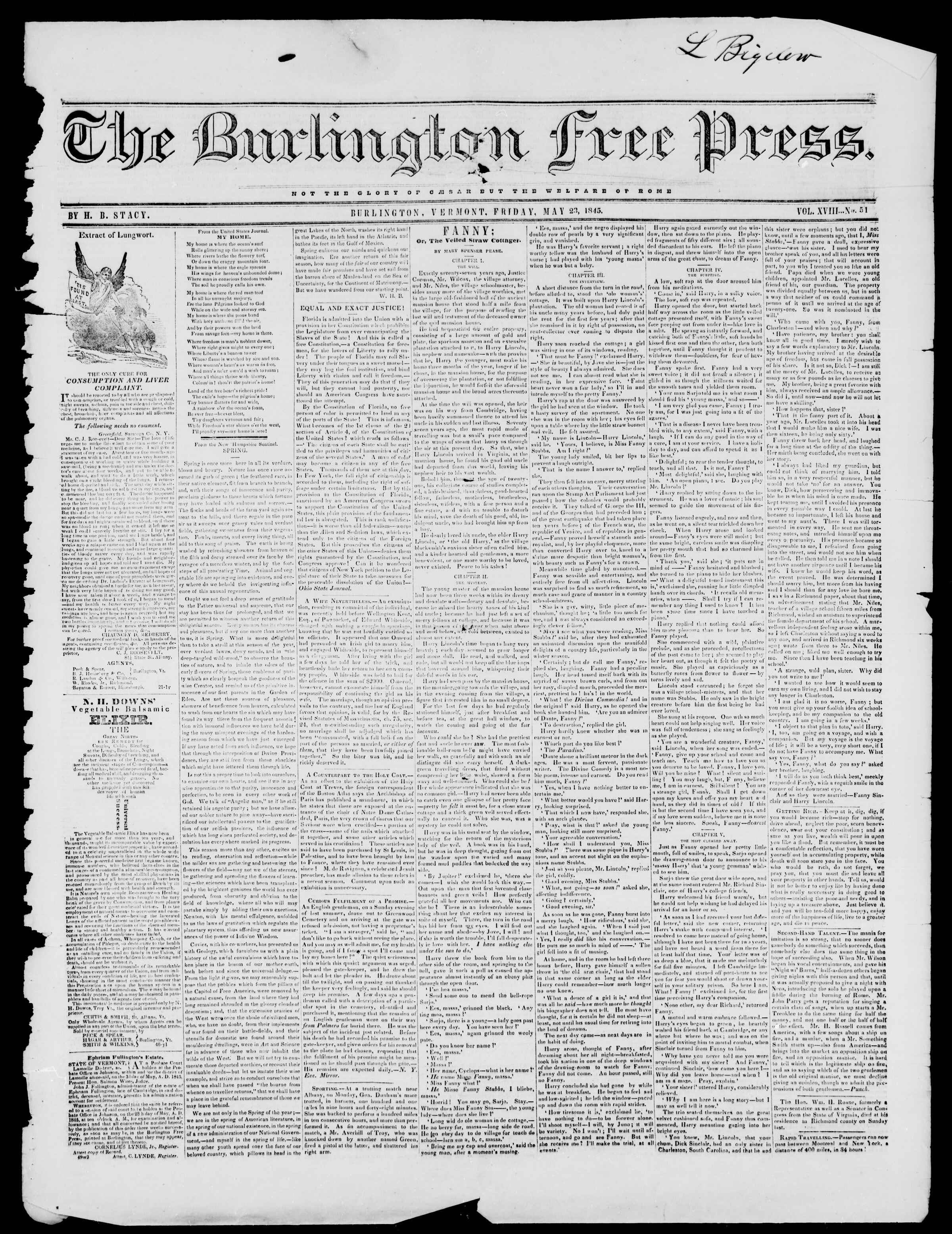 Newspaper of Burlington Free Press dated May 23, 1845 Page 1