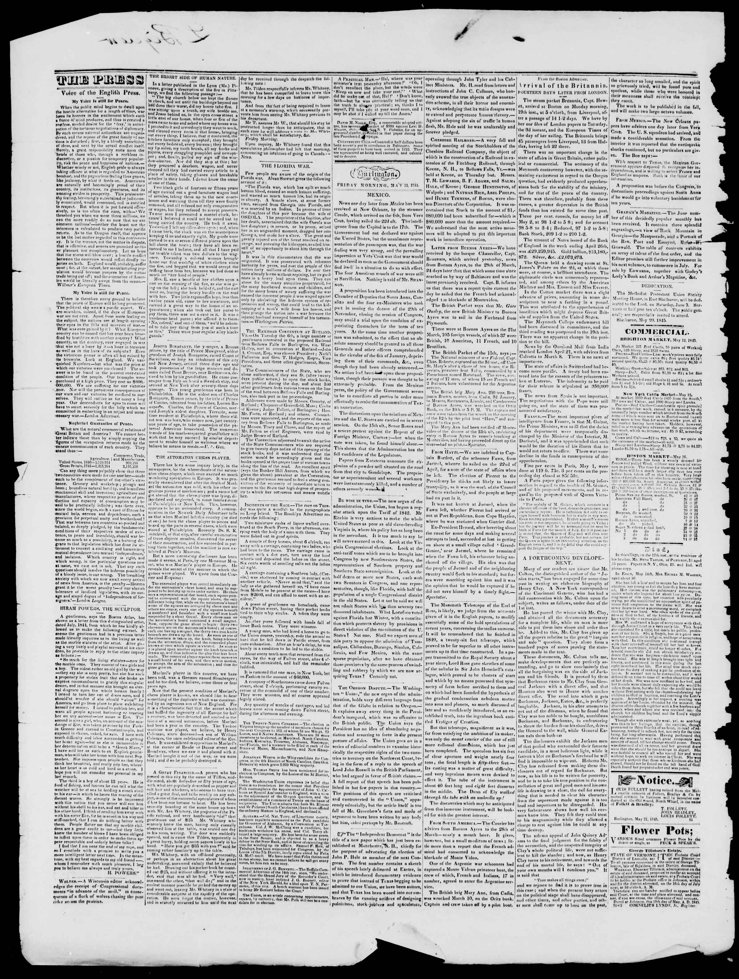 Newspaper of Burlington Free Press dated 23 Mayıs 1845 Page 2