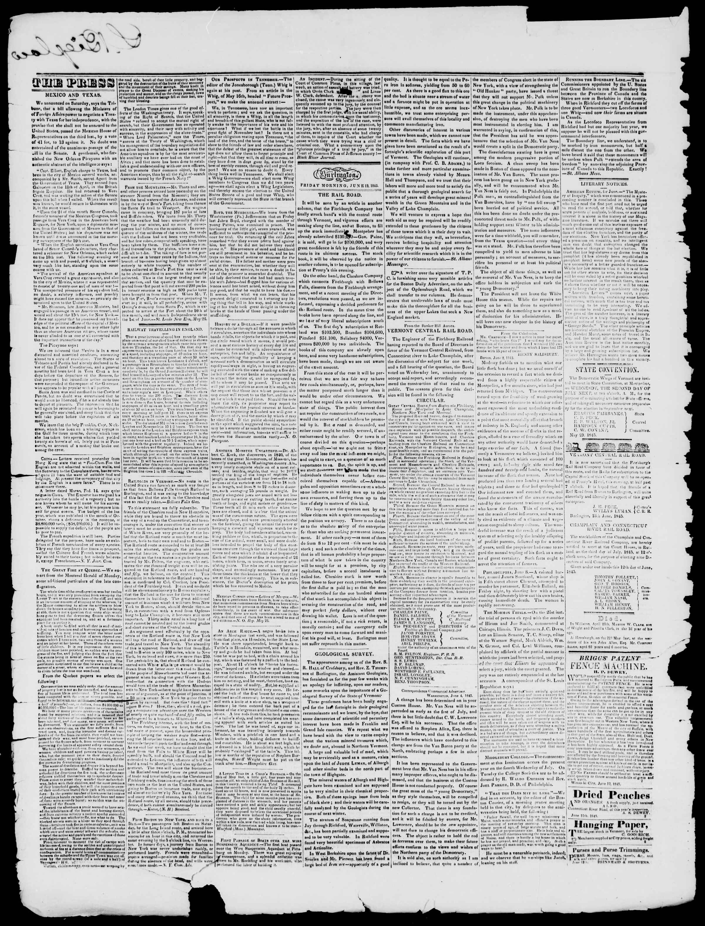 Newspaper of Burlington Free Press dated June 13, 1845 Page 2