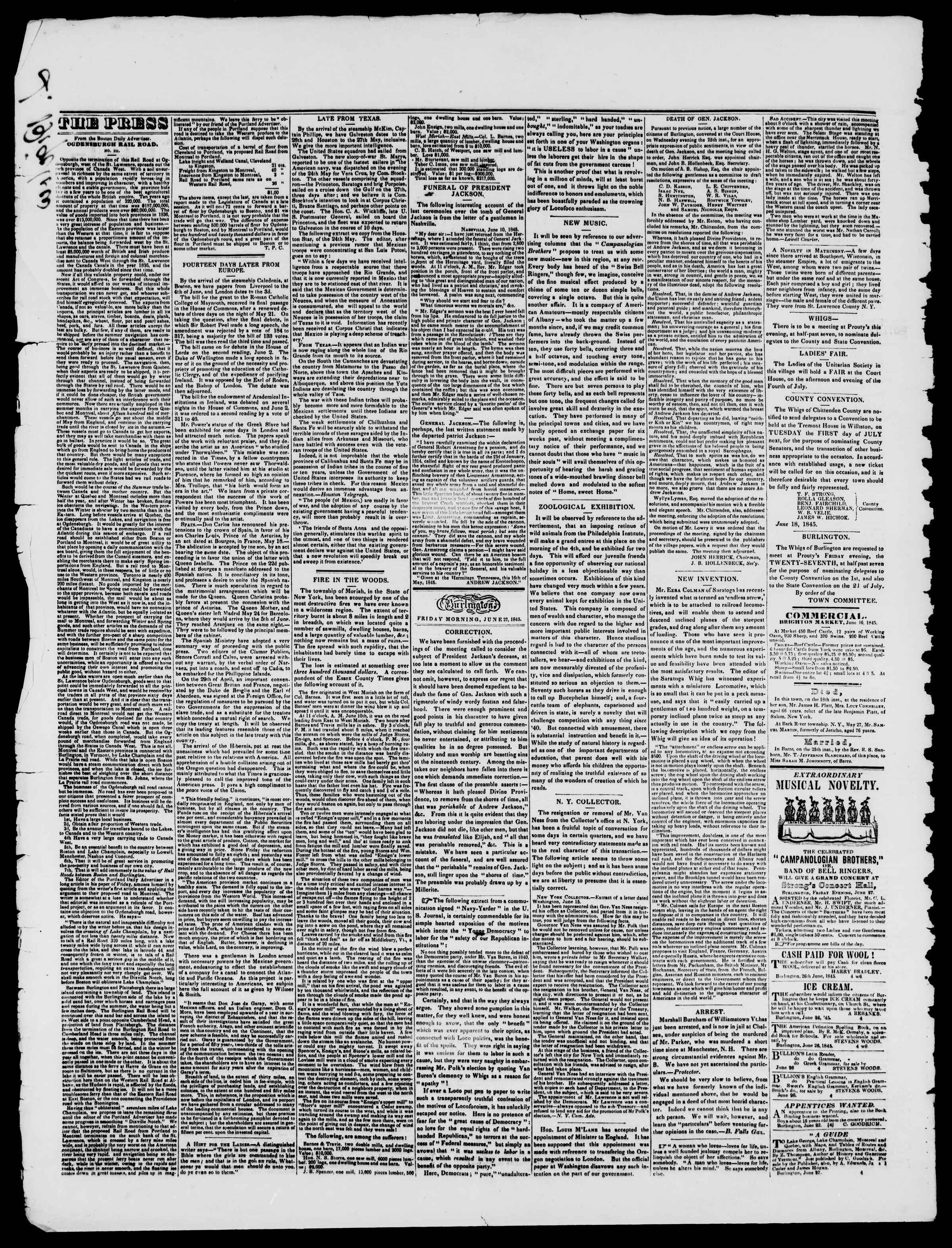 Newspaper of Burlington Free Press dated June 27, 1845 Page 2