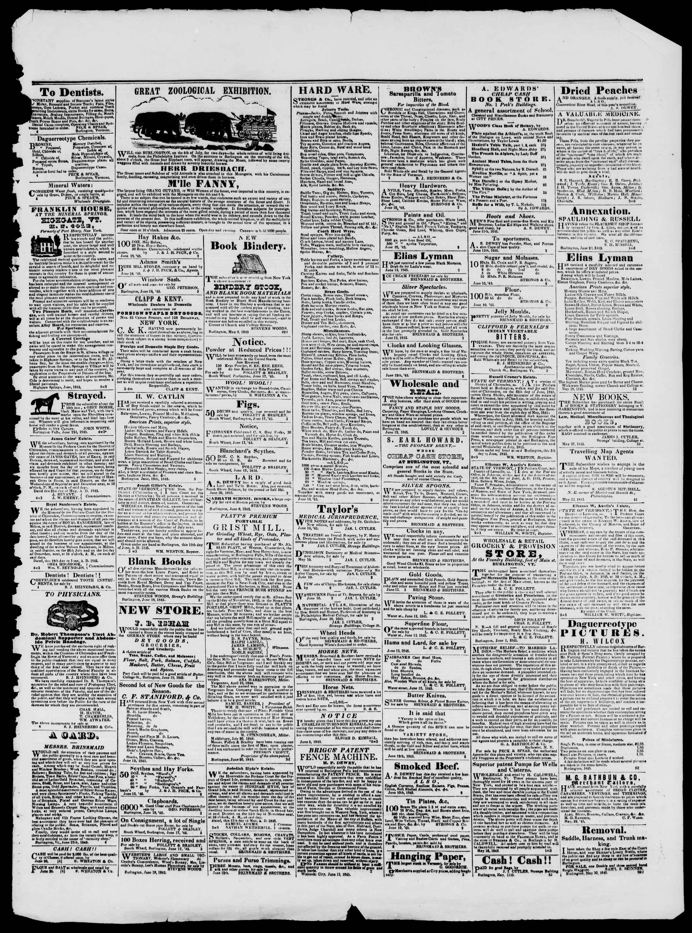 Newspaper of Burlington Free Press dated June 27, 1845 Page 3