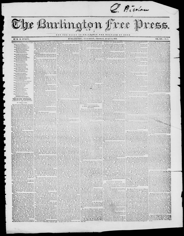 Newspaper of Burlington Free Press dated July 4, 1845 Page 1
