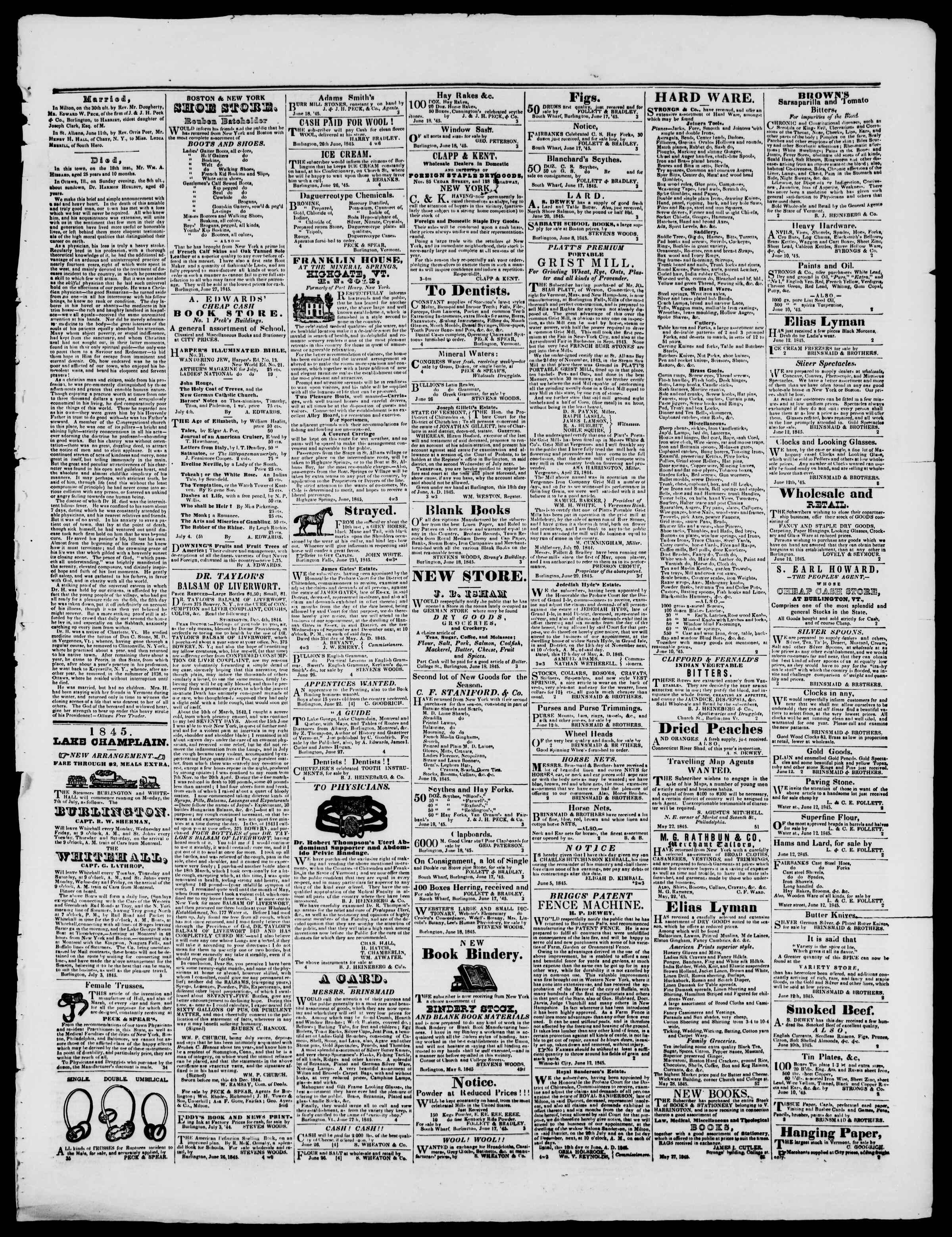 Newspaper of Burlington Free Press dated July 4, 1845 Page 3