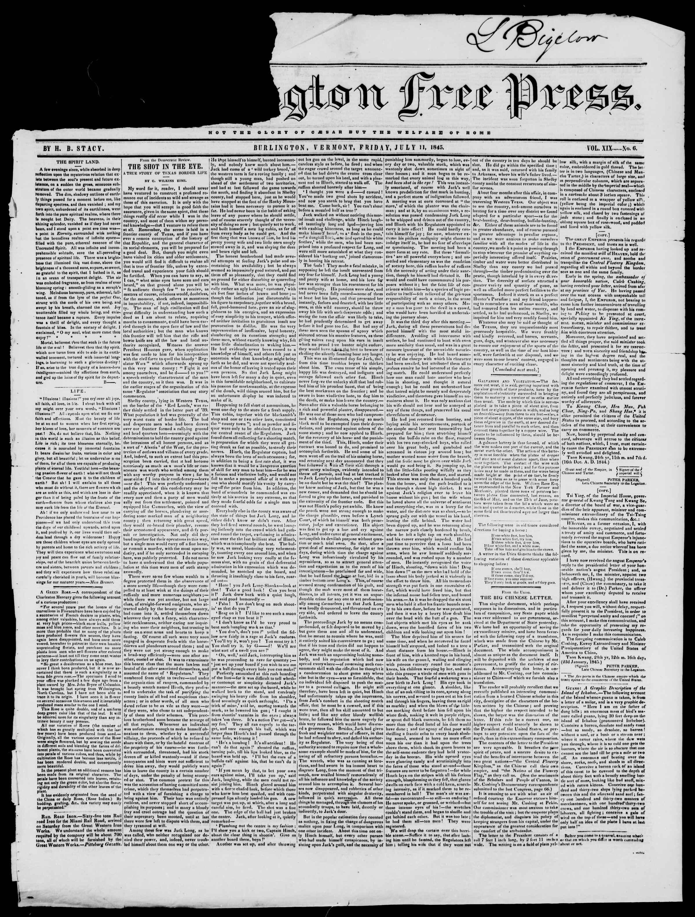 Newspaper of Burlington Free Press dated July 11, 1845 Page 1