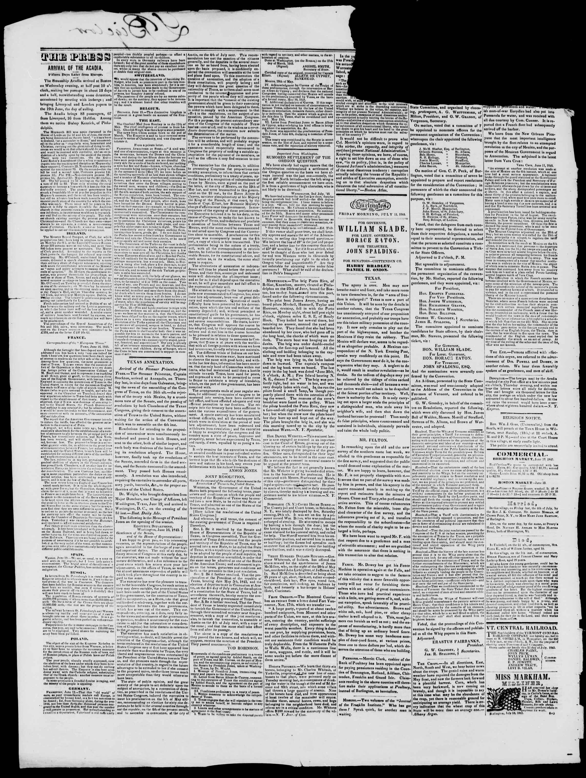 Newspaper of Burlington Free Press dated July 11, 1845 Page 2