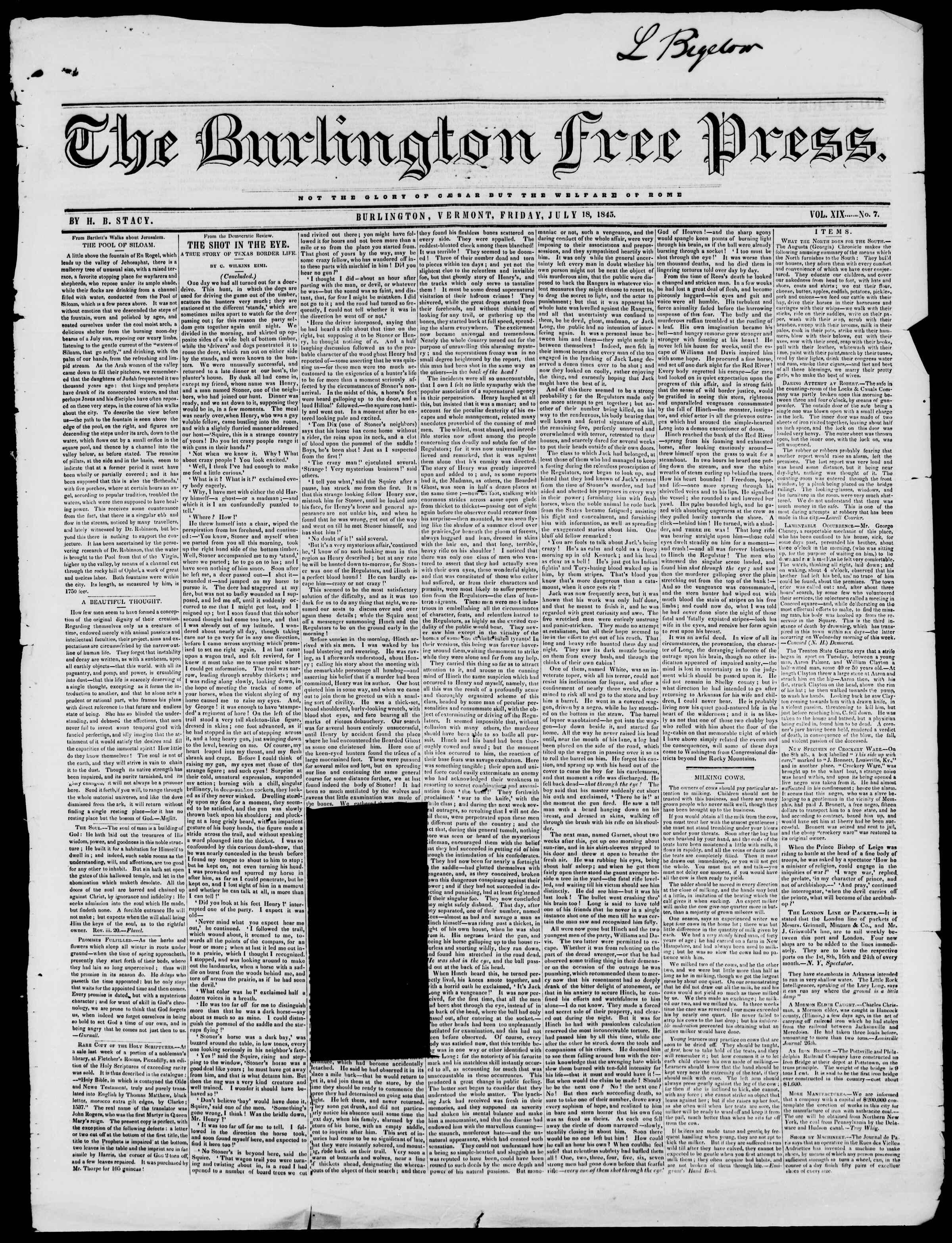 Newspaper of Burlington Free Press dated July 18, 1845 Page 1