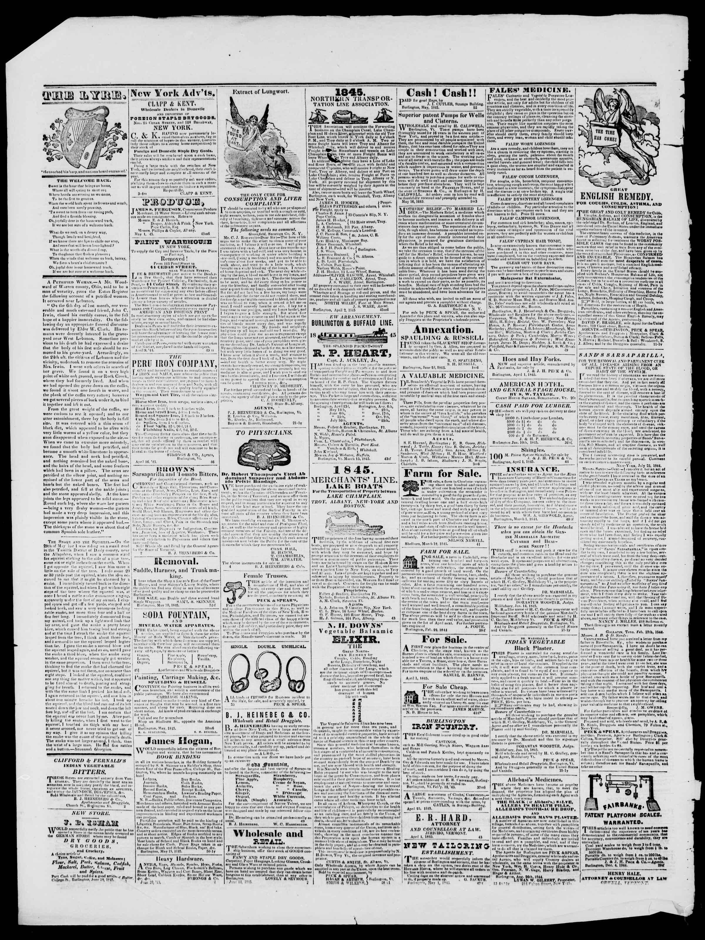 Newspaper of Burlington Free Press dated July 25, 1845 Page 4