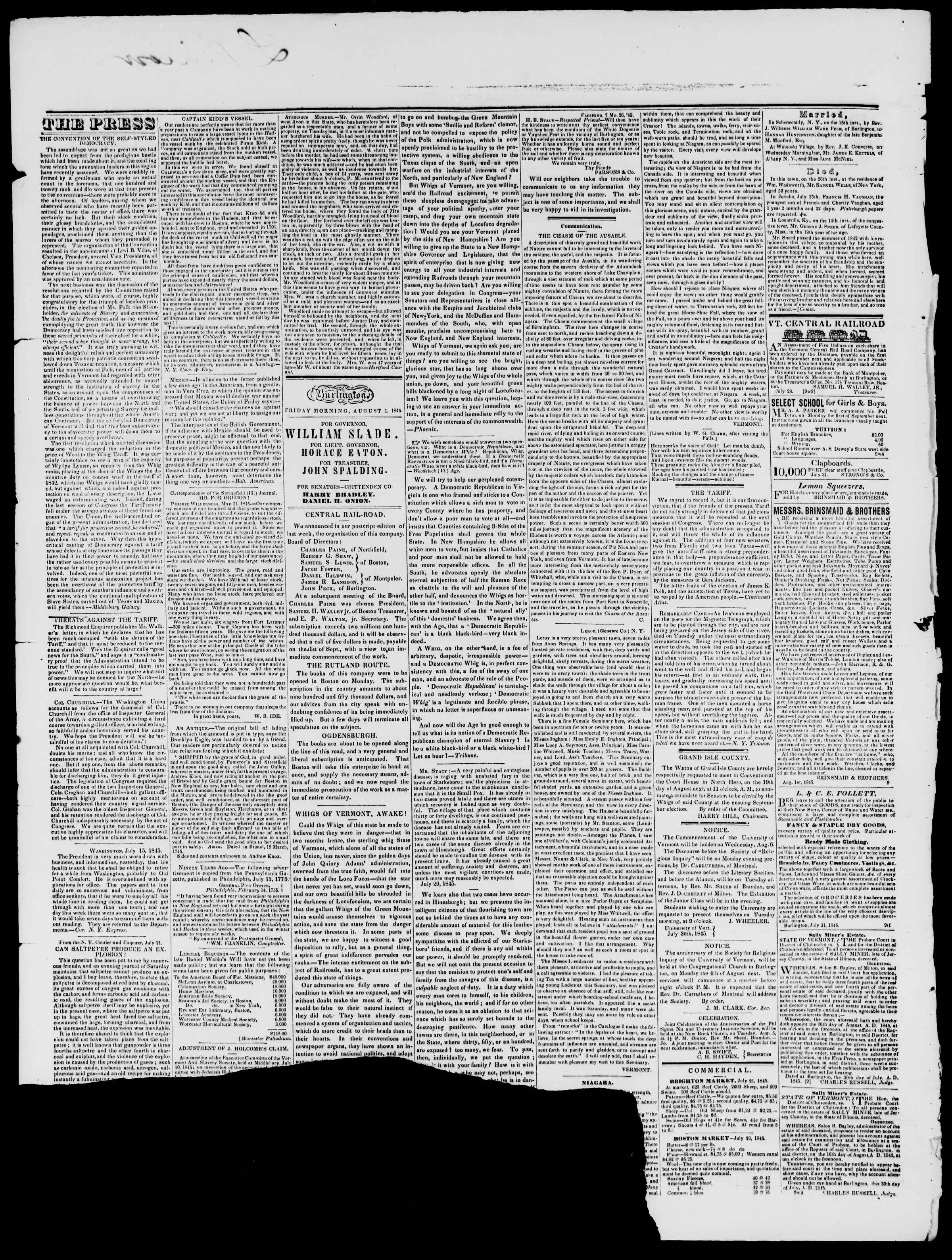 Newspaper of Burlington Free Press dated August 1, 1845 Page 2