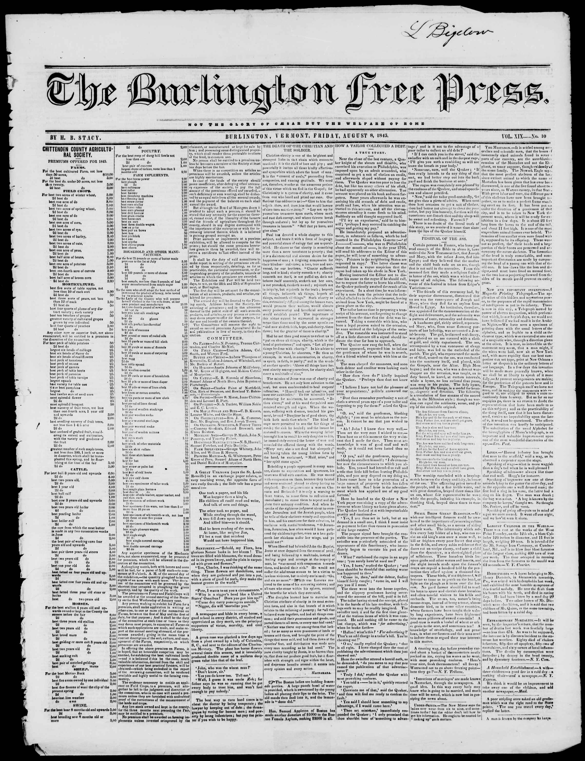 Newspaper of Burlington Free Press dated August 8, 1845 Page 1