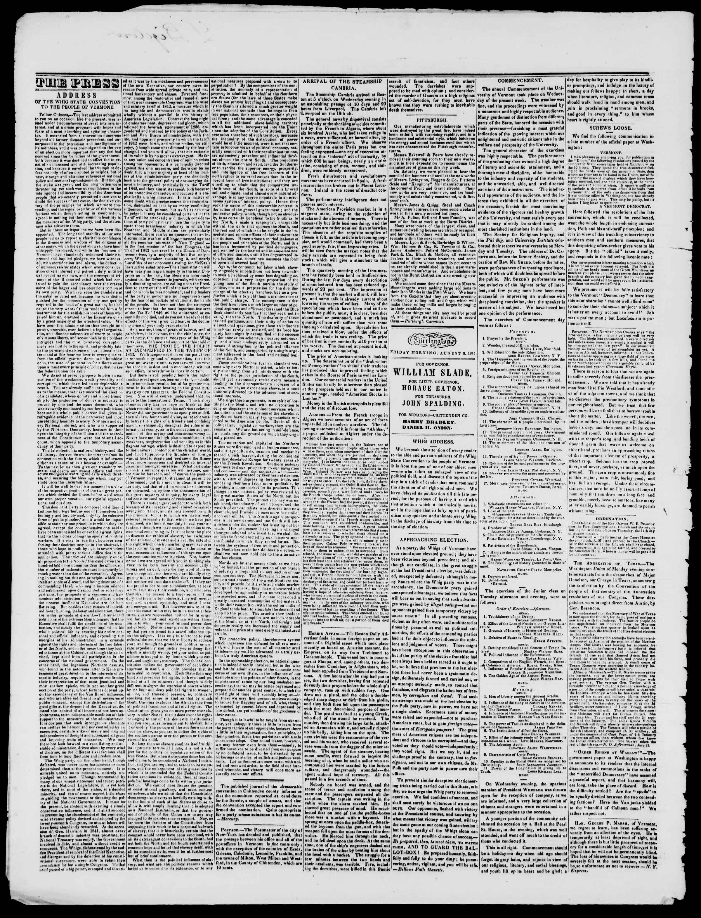 Newspaper of Burlington Free Press dated August 8, 1845 Page 2