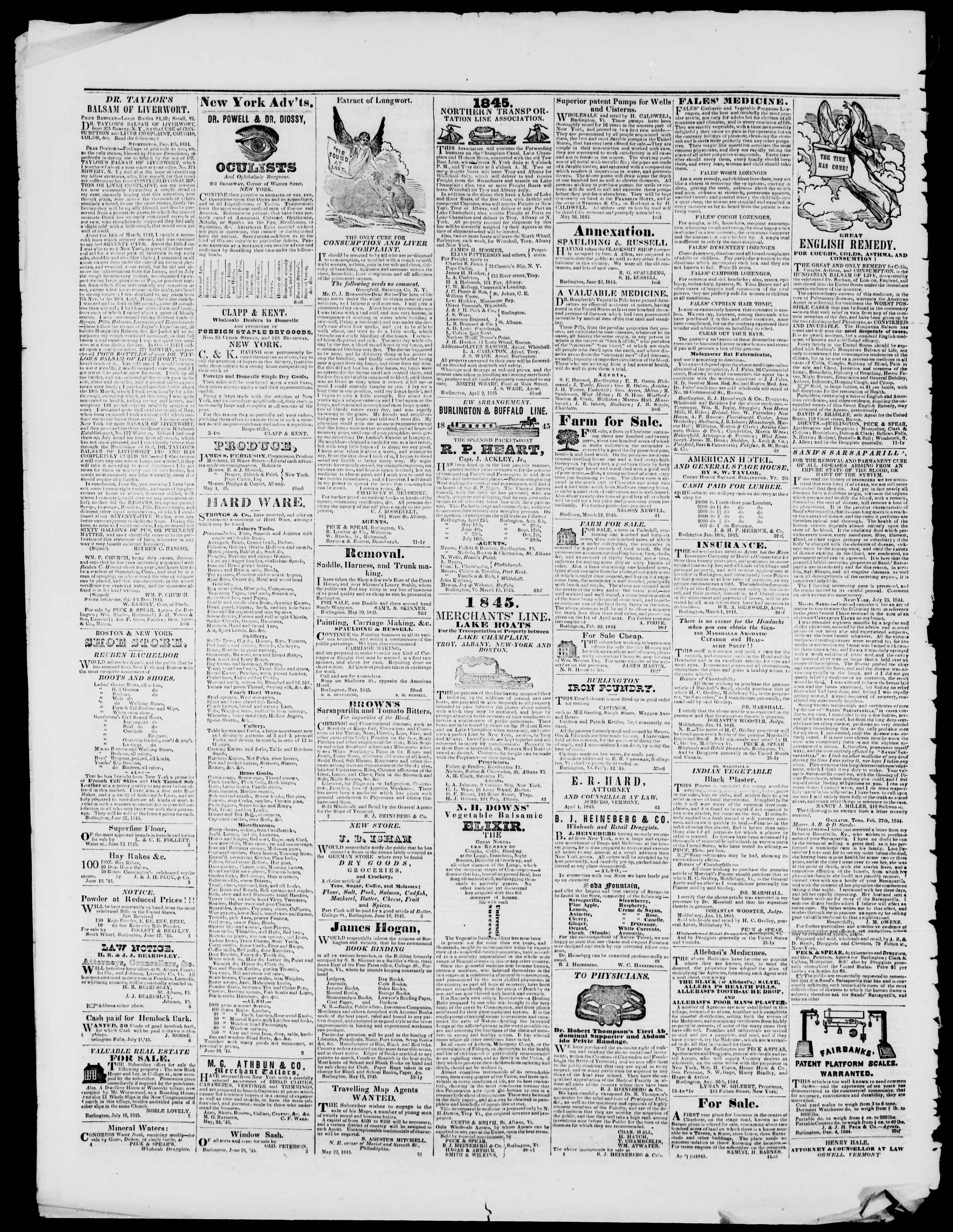 Newspaper of Burlington Free Press dated August 8, 1845 Page 4