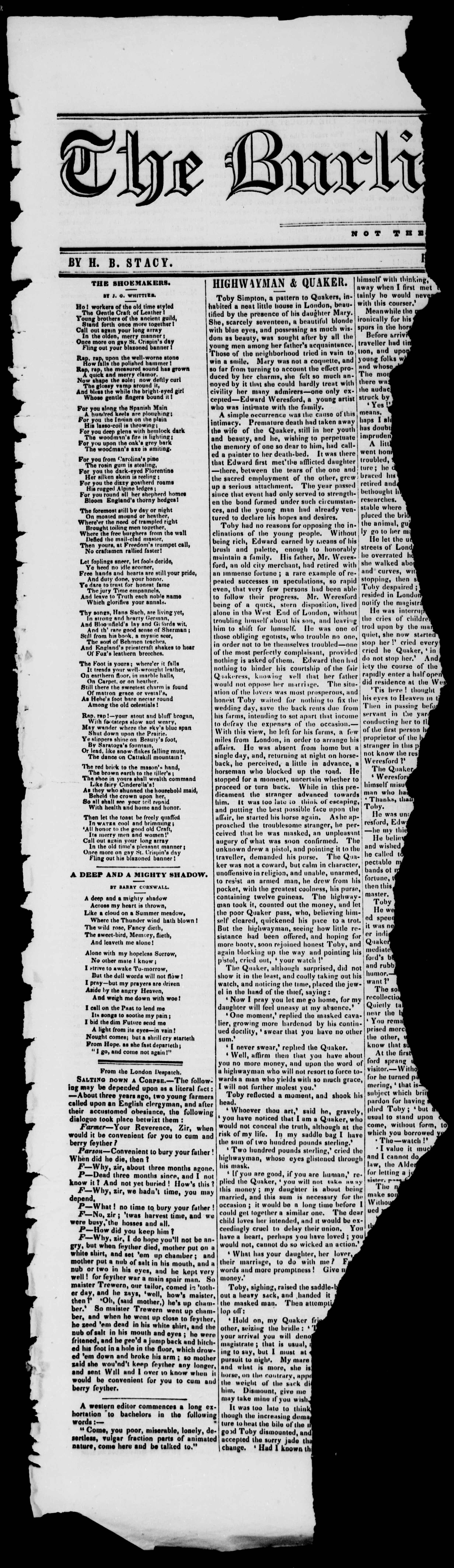 Newspaper of Burlington Free Press dated August 15, 1845 Page 1