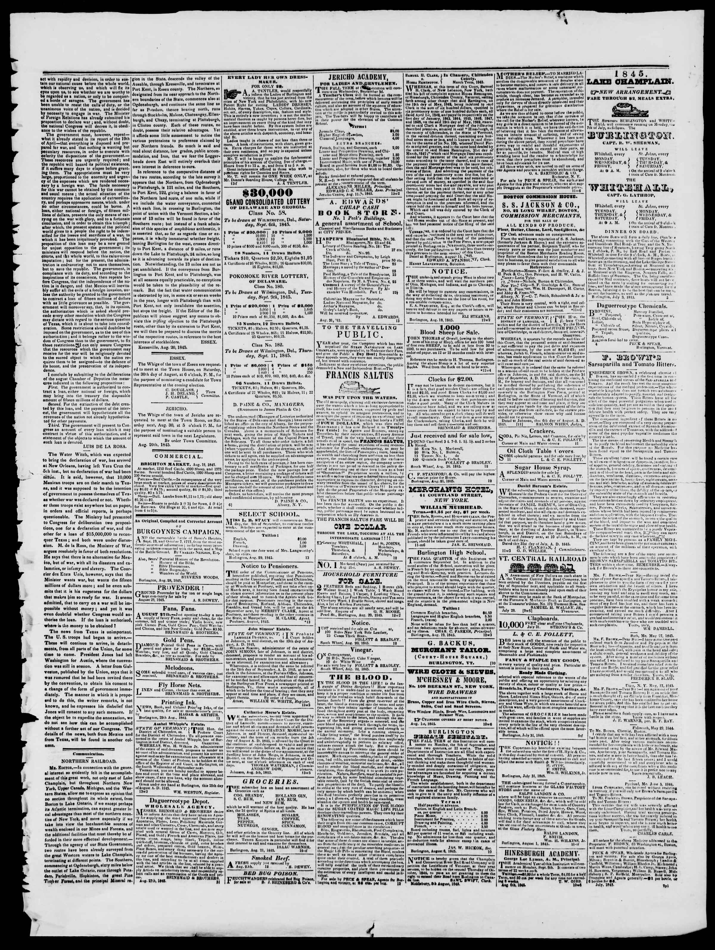Newspaper of Burlington Free Press dated August 15, 1845 Page 3