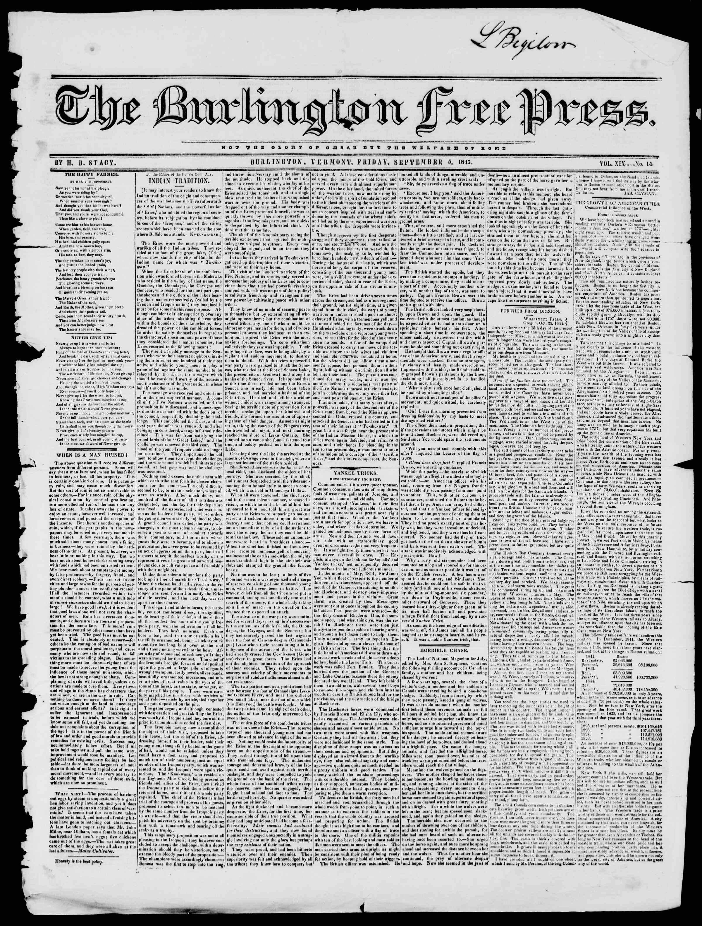 Newspaper of Burlington Free Press dated September 5, 1845 Page 1