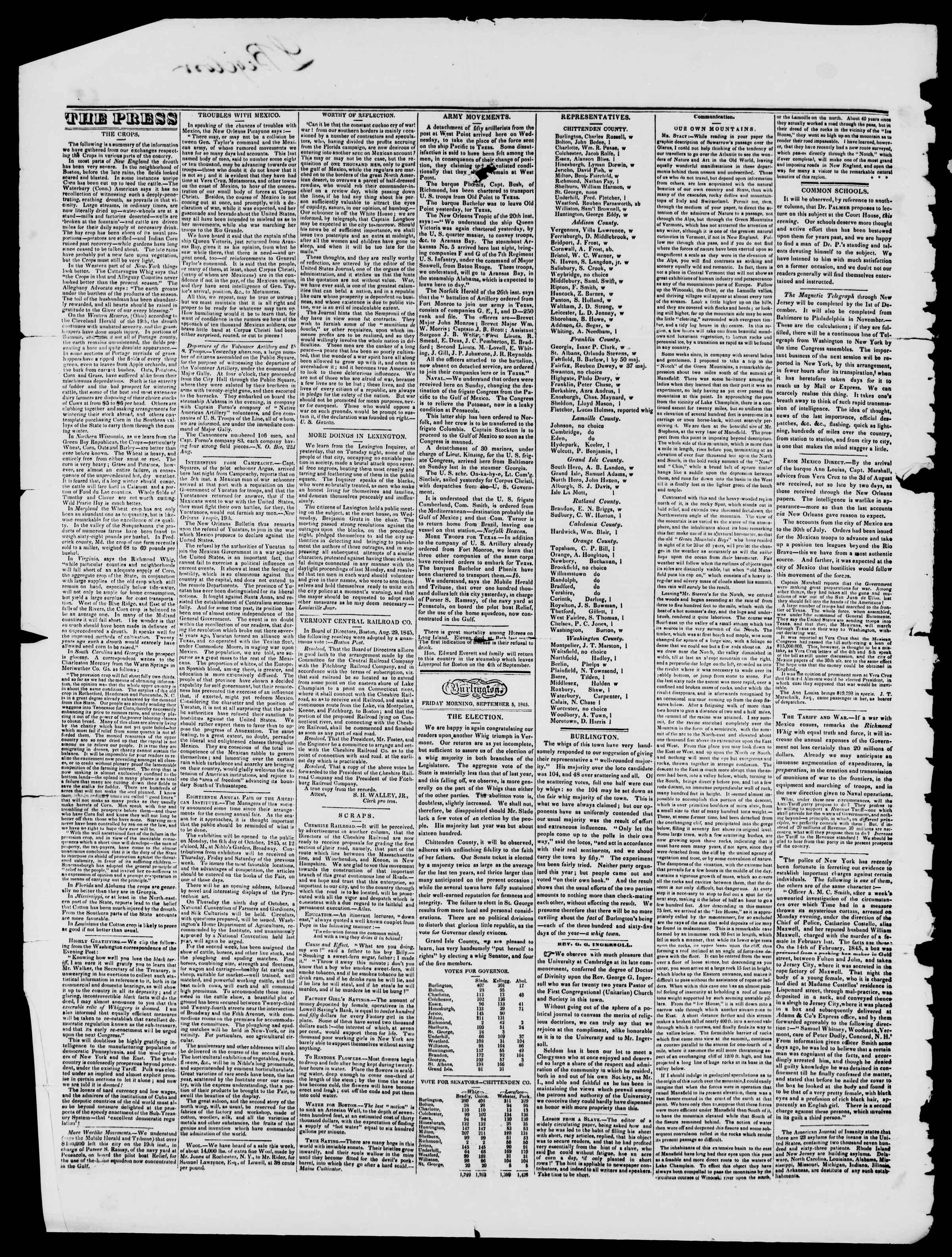 Newspaper of Burlington Free Press dated September 5, 1845 Page 2