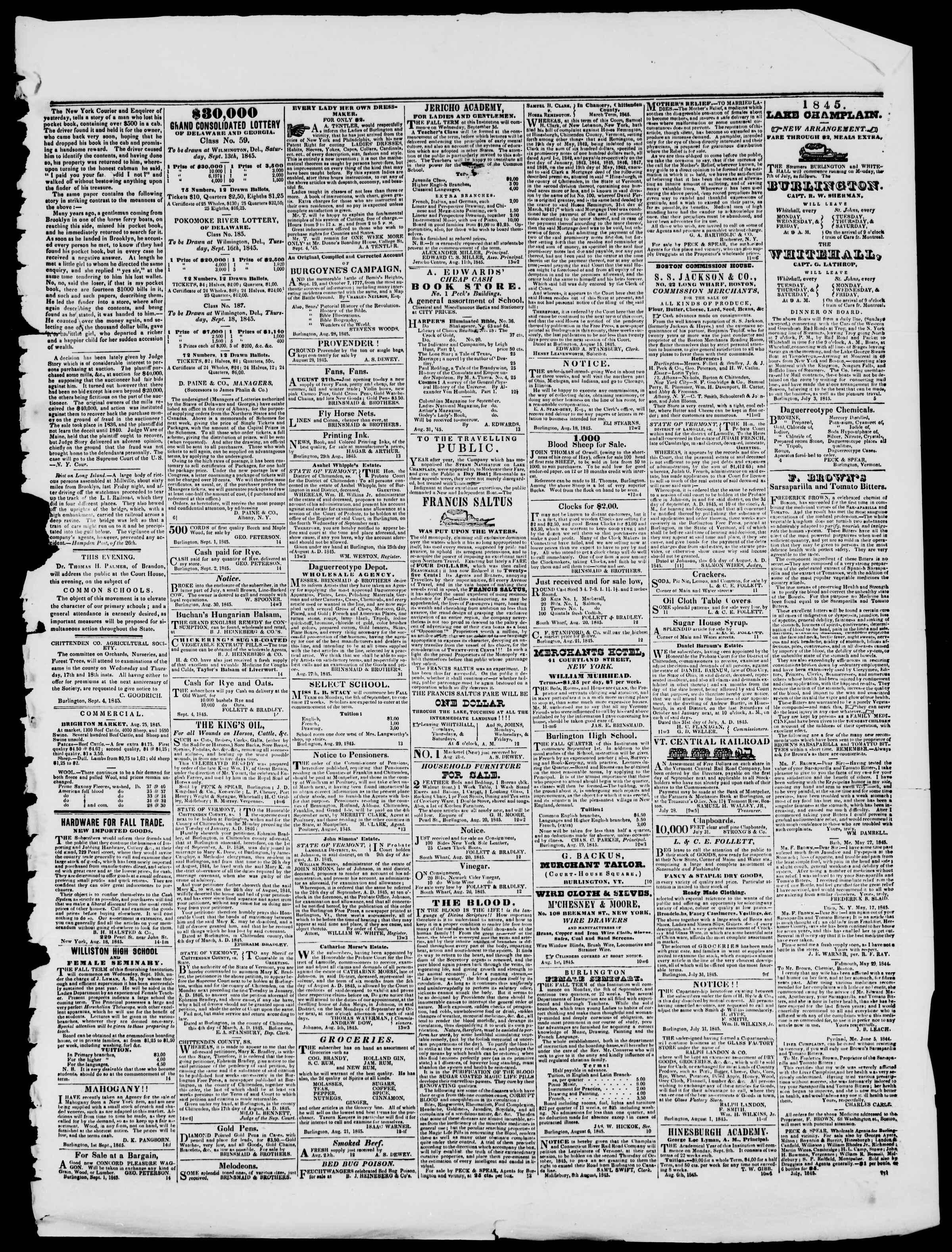 Newspaper of Burlington Free Press dated September 5, 1845 Page 3