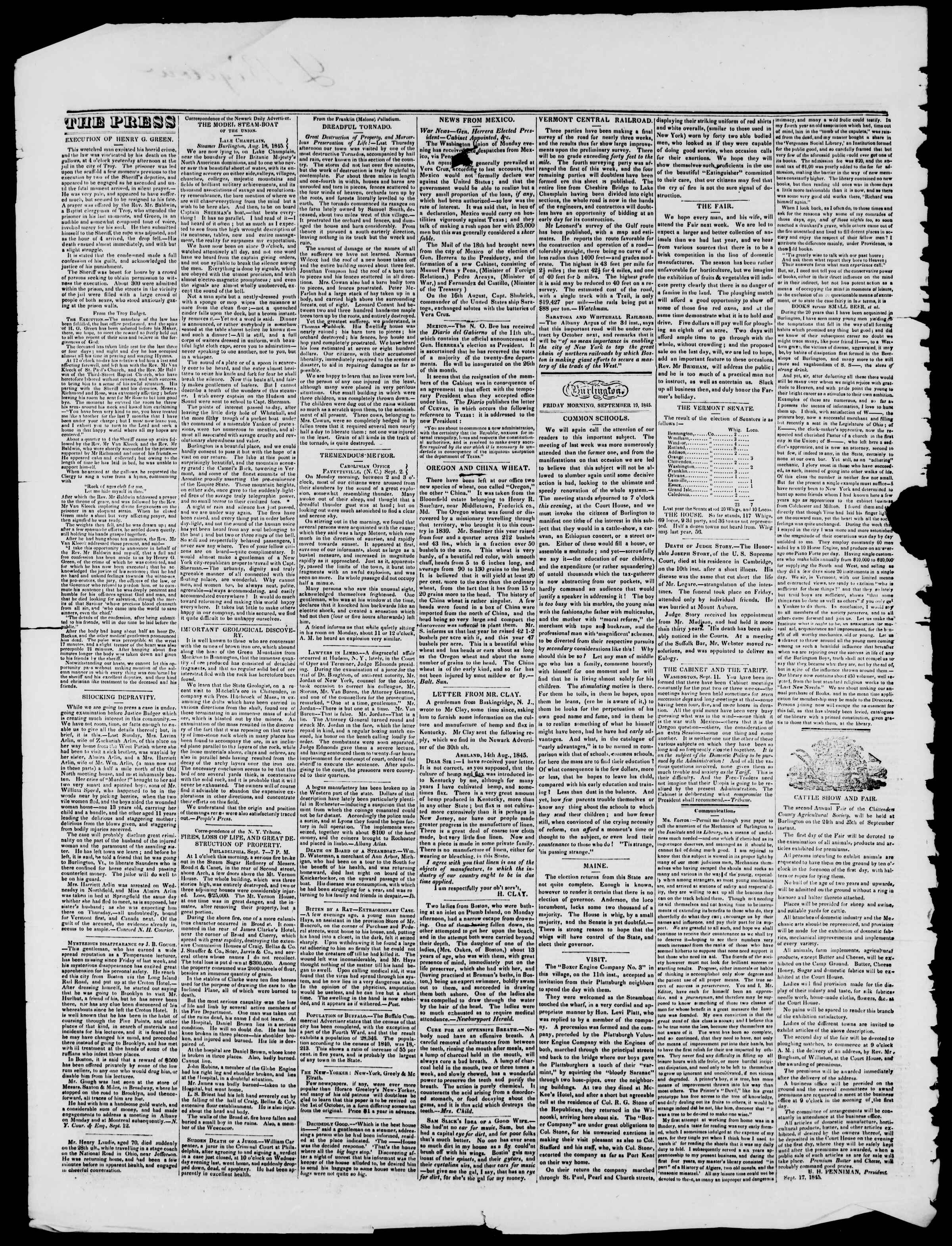 Newspaper of Burlington Free Press dated September 19, 1845 Page 2