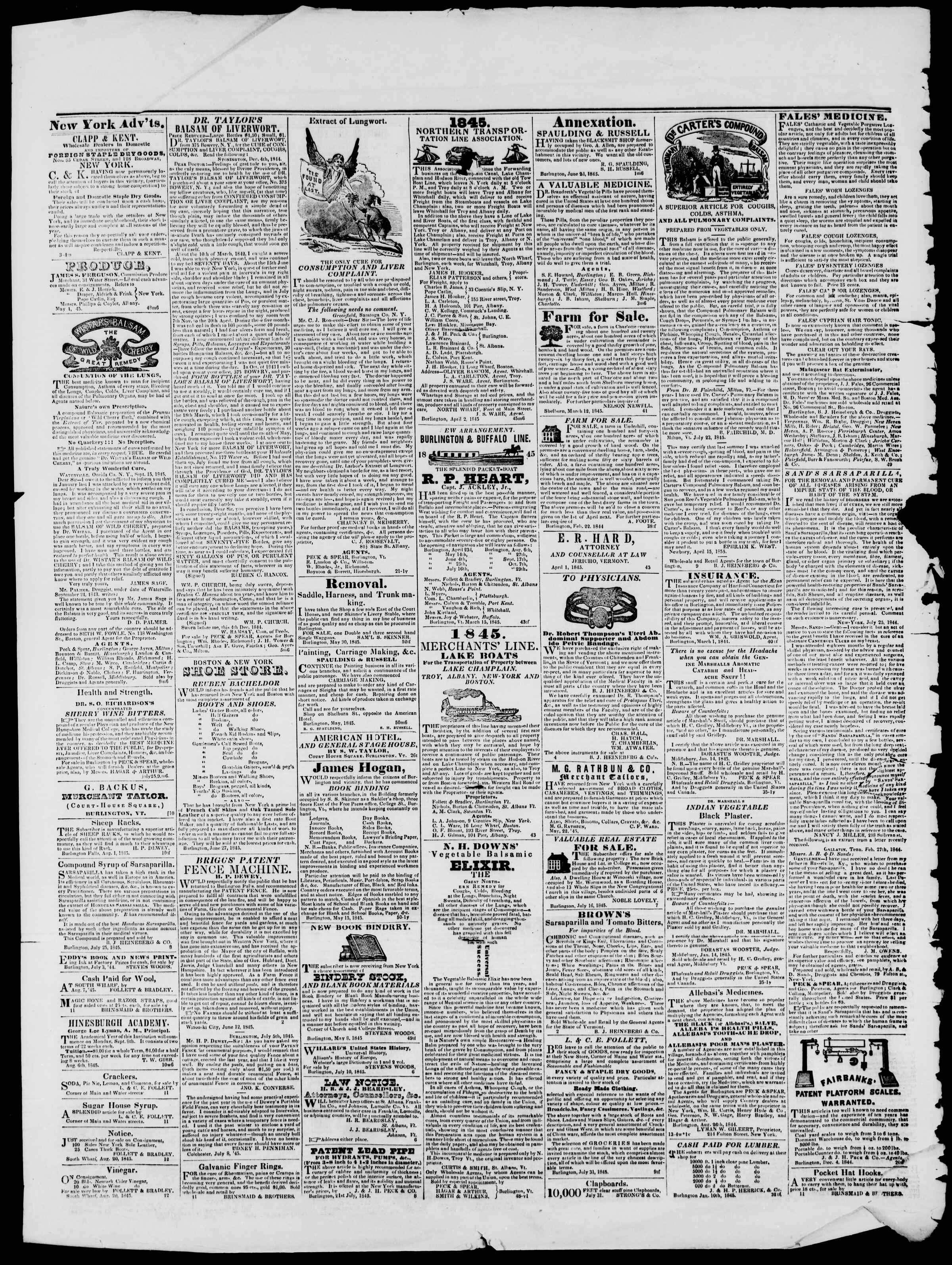 Newspaper of Burlington Free Press dated September 19, 1845 Page 4