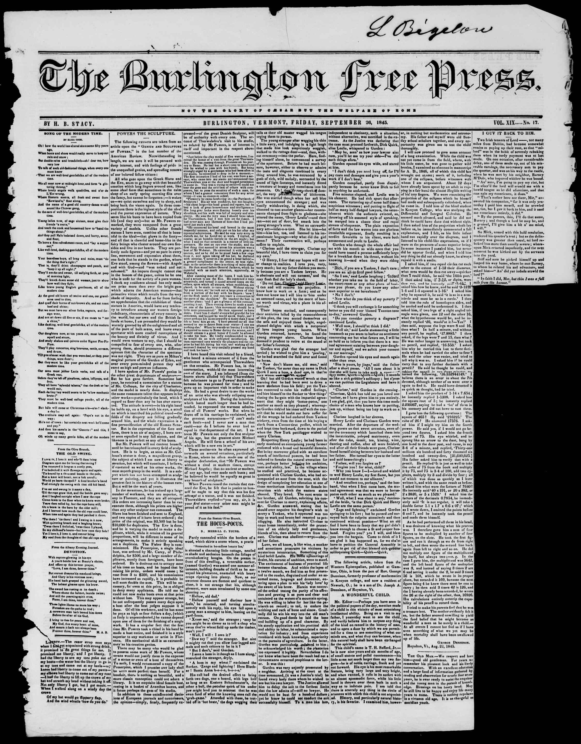 Newspaper of Burlington Free Press dated September 26, 1845 Page 1