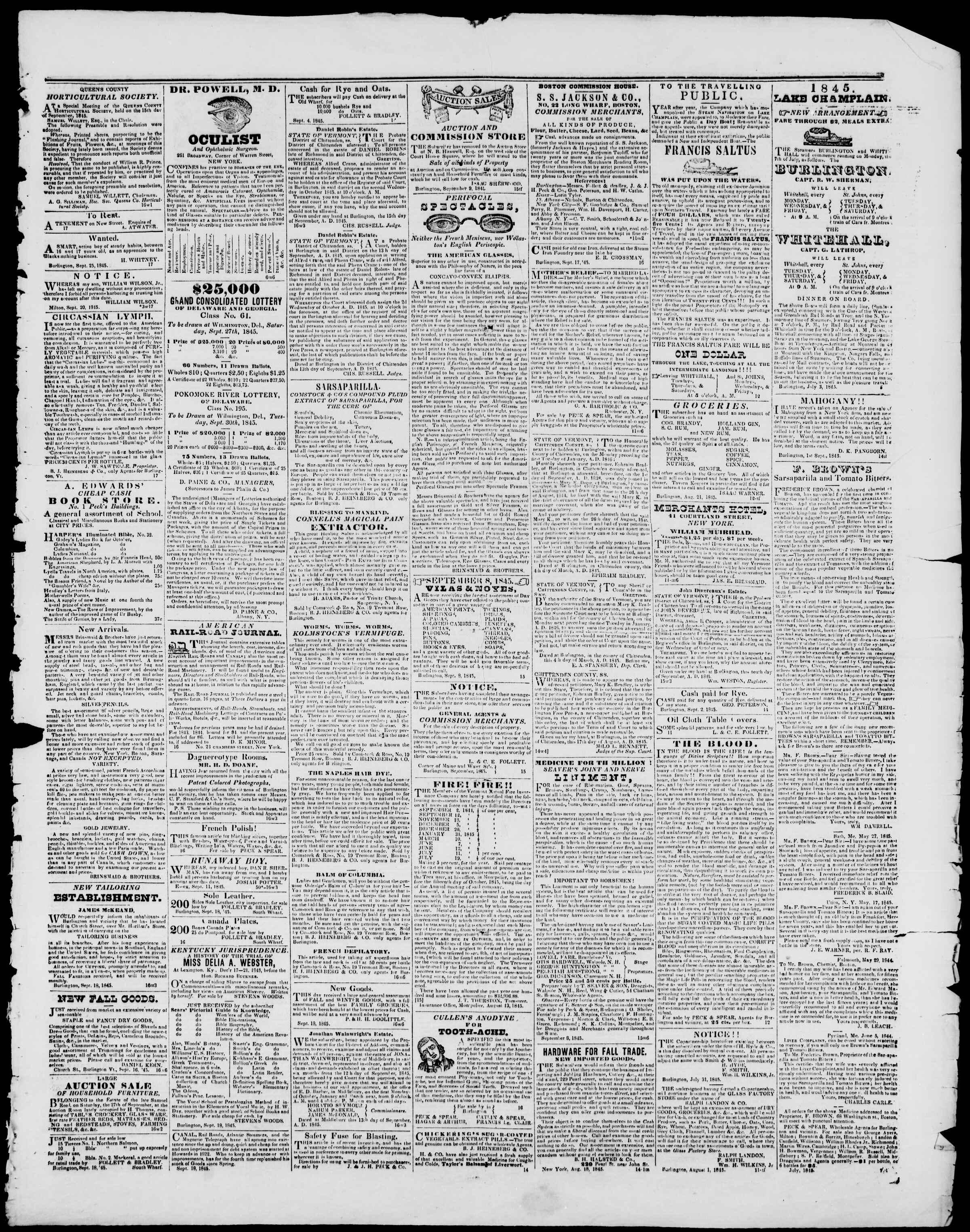 Newspaper of Burlington Free Press dated September 26, 1845 Page 3