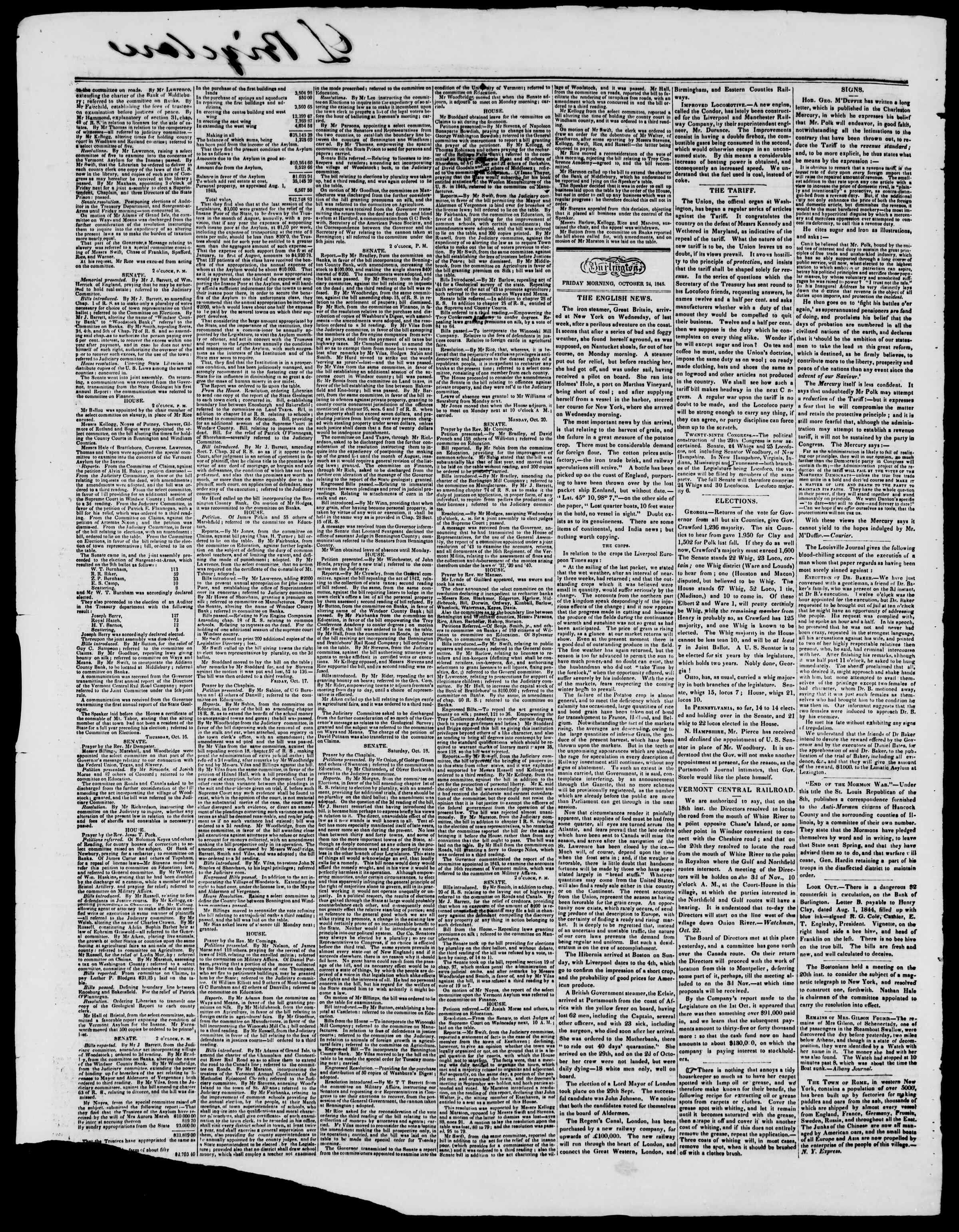 Newspaper of Burlington Free Press dated October 24, 1845 Page 2