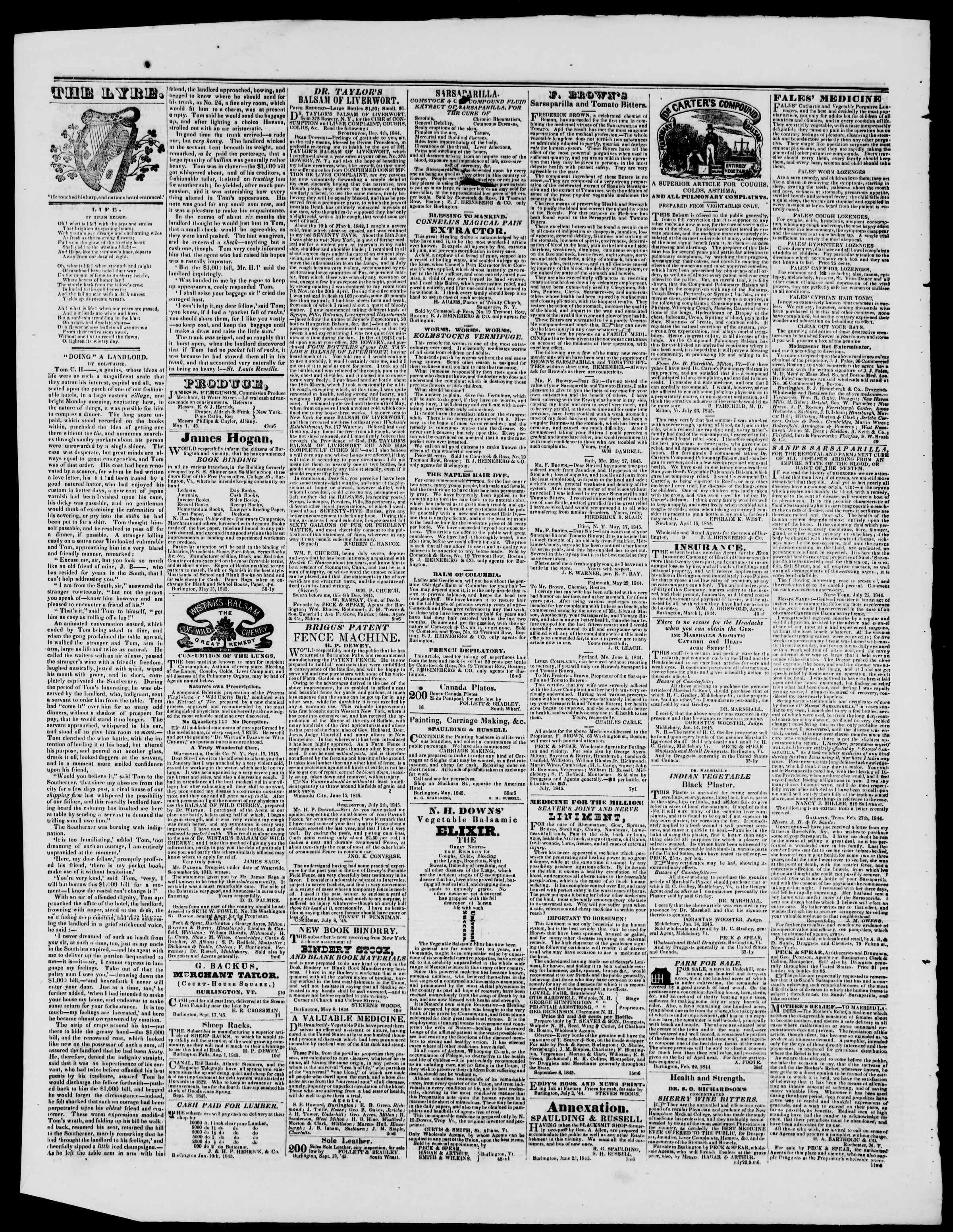 Newspaper of Burlington Free Press dated October 24, 1845 Page 3