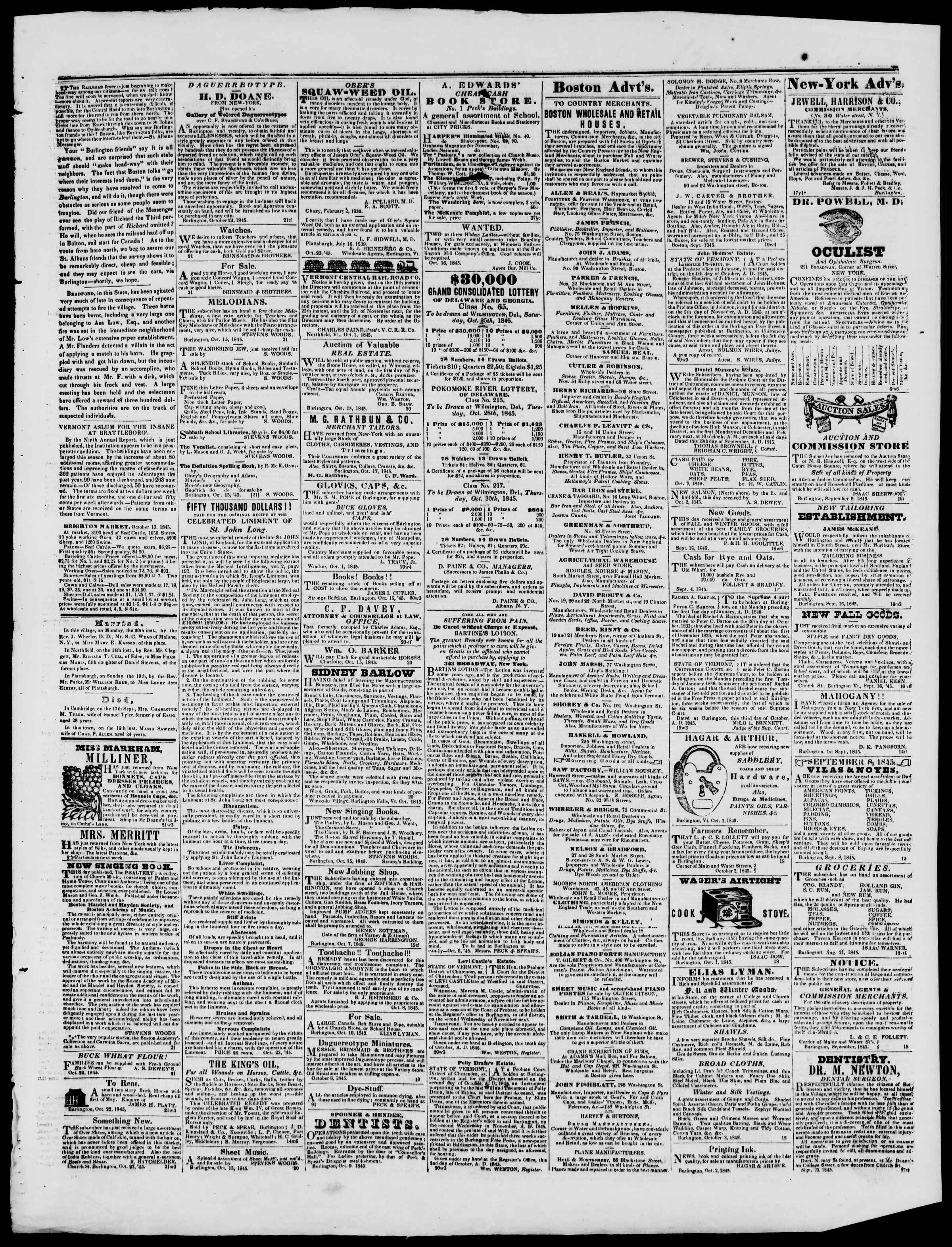 Newspaper of Burlington Free Press dated October 24, 1845 Page 4