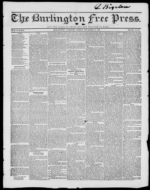 Newspaper of Burlington Free Press dated November 14, 1845 Page 1