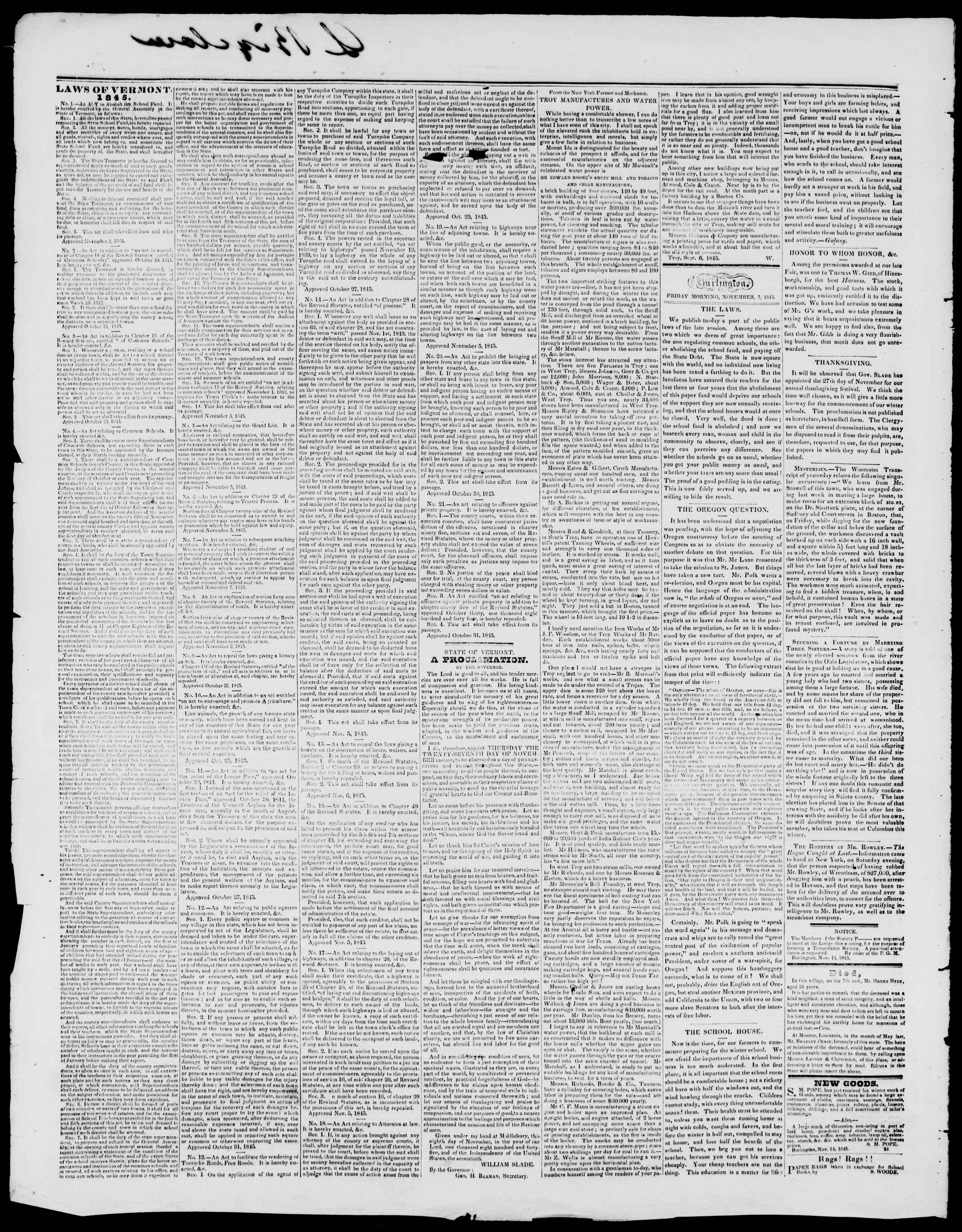 Newspaper of Burlington Free Press dated November 14, 1845 Page 2