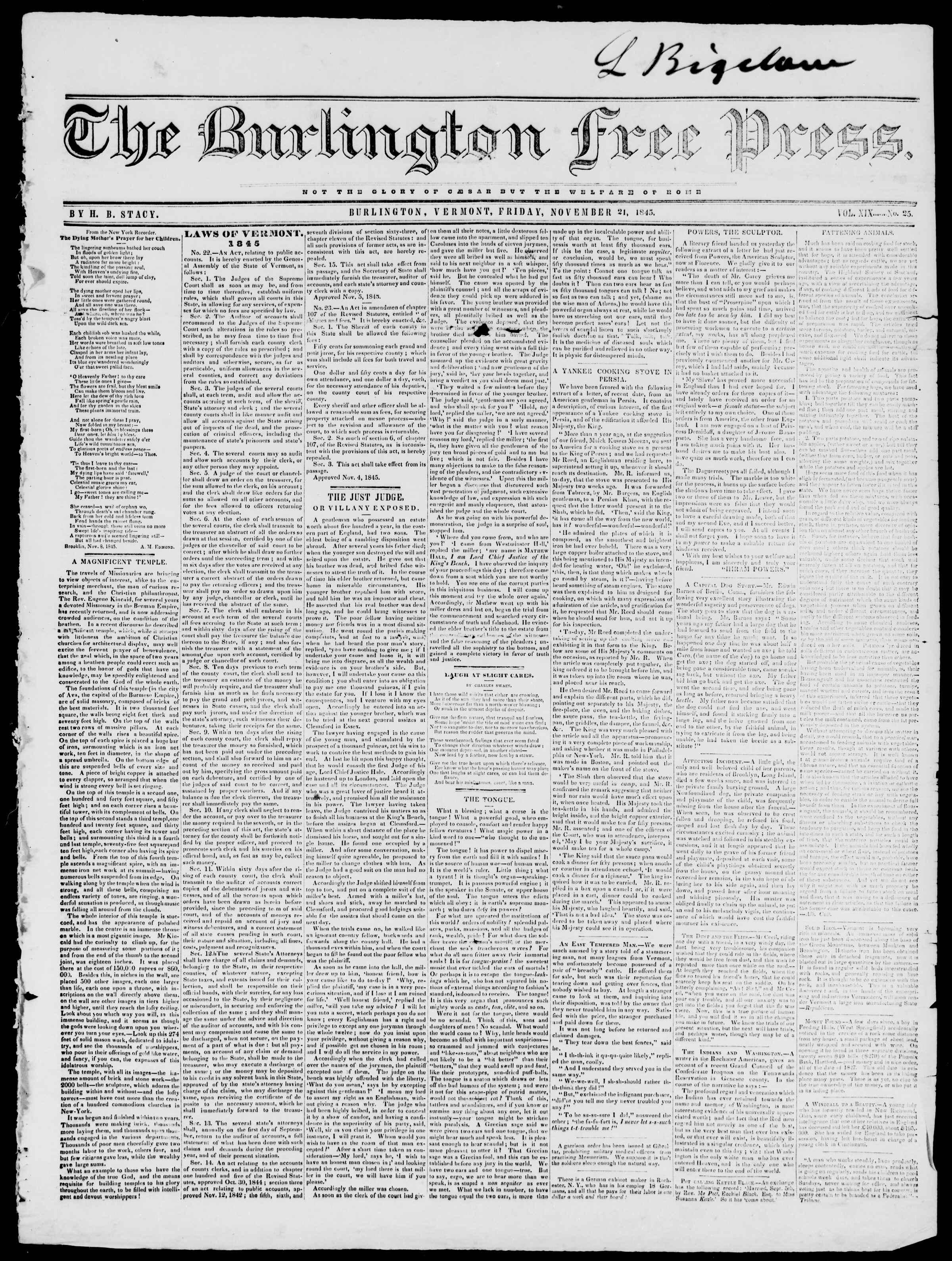 Newspaper of Burlington Free Press dated November 21, 1845 Page 1