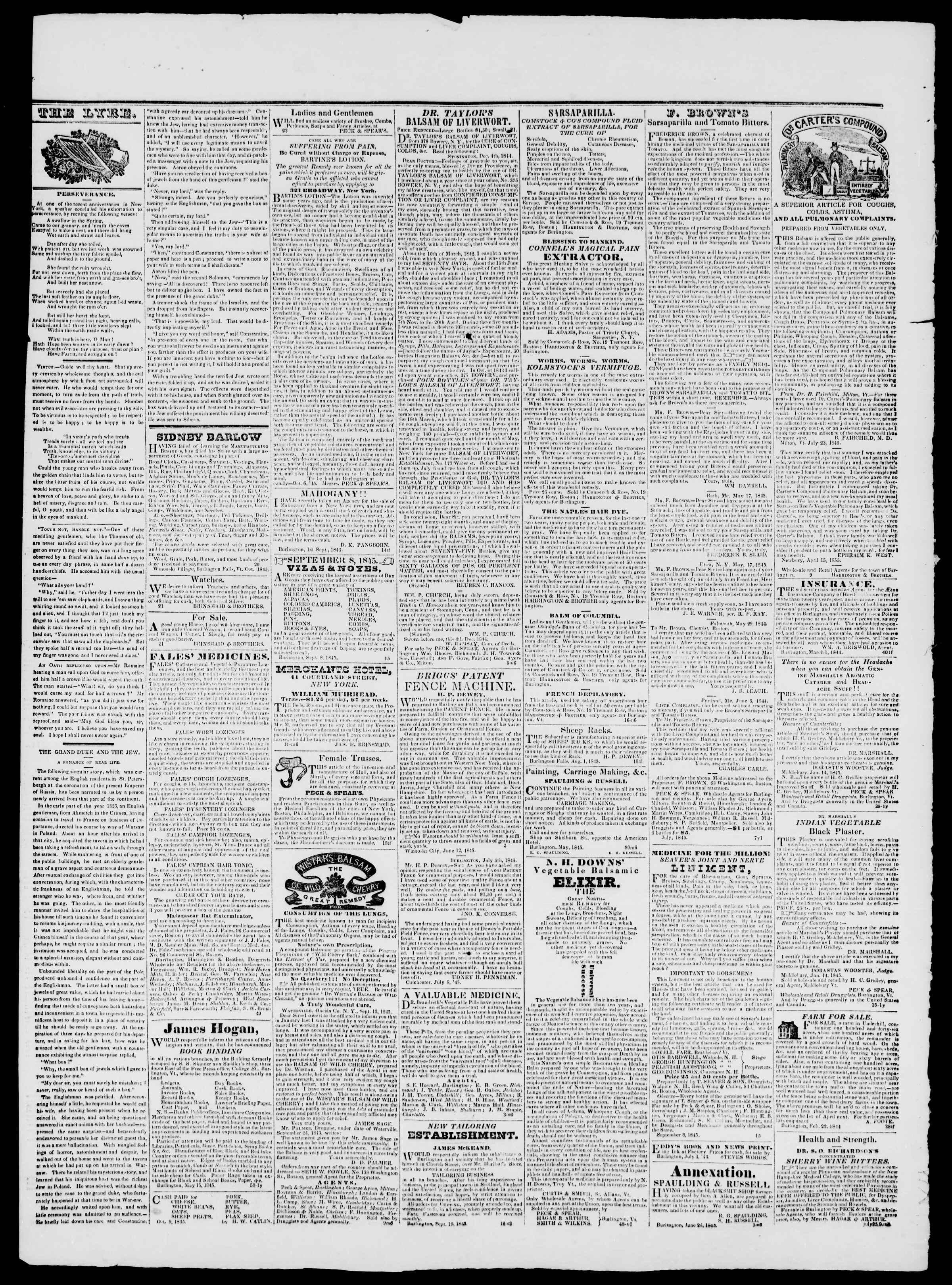 Newspaper of Burlington Free Press dated November 21, 1845 Page 4
