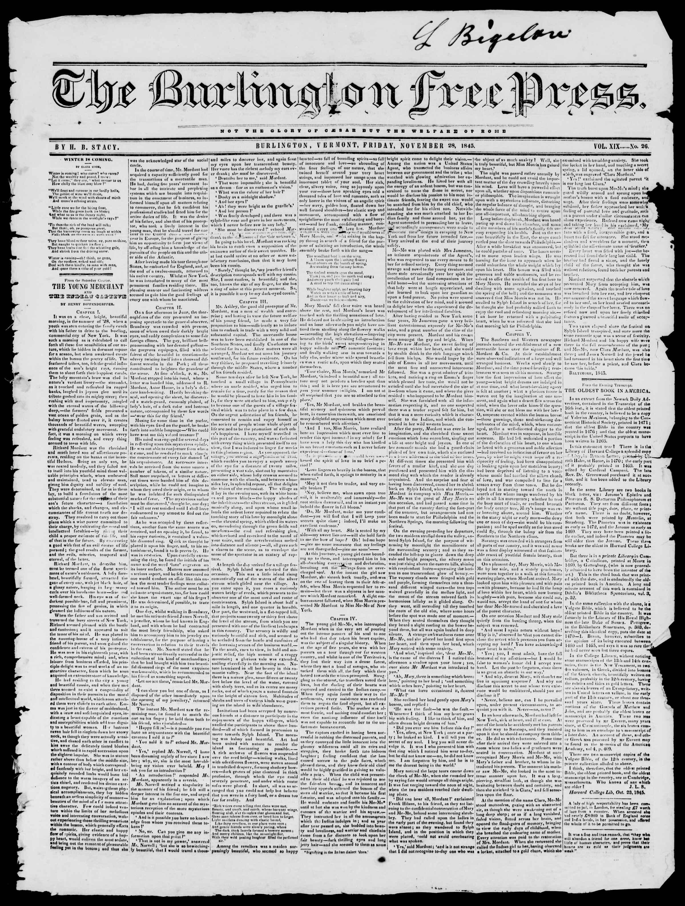 Newspaper of Burlington Free Press dated November 28, 1845 Page 1