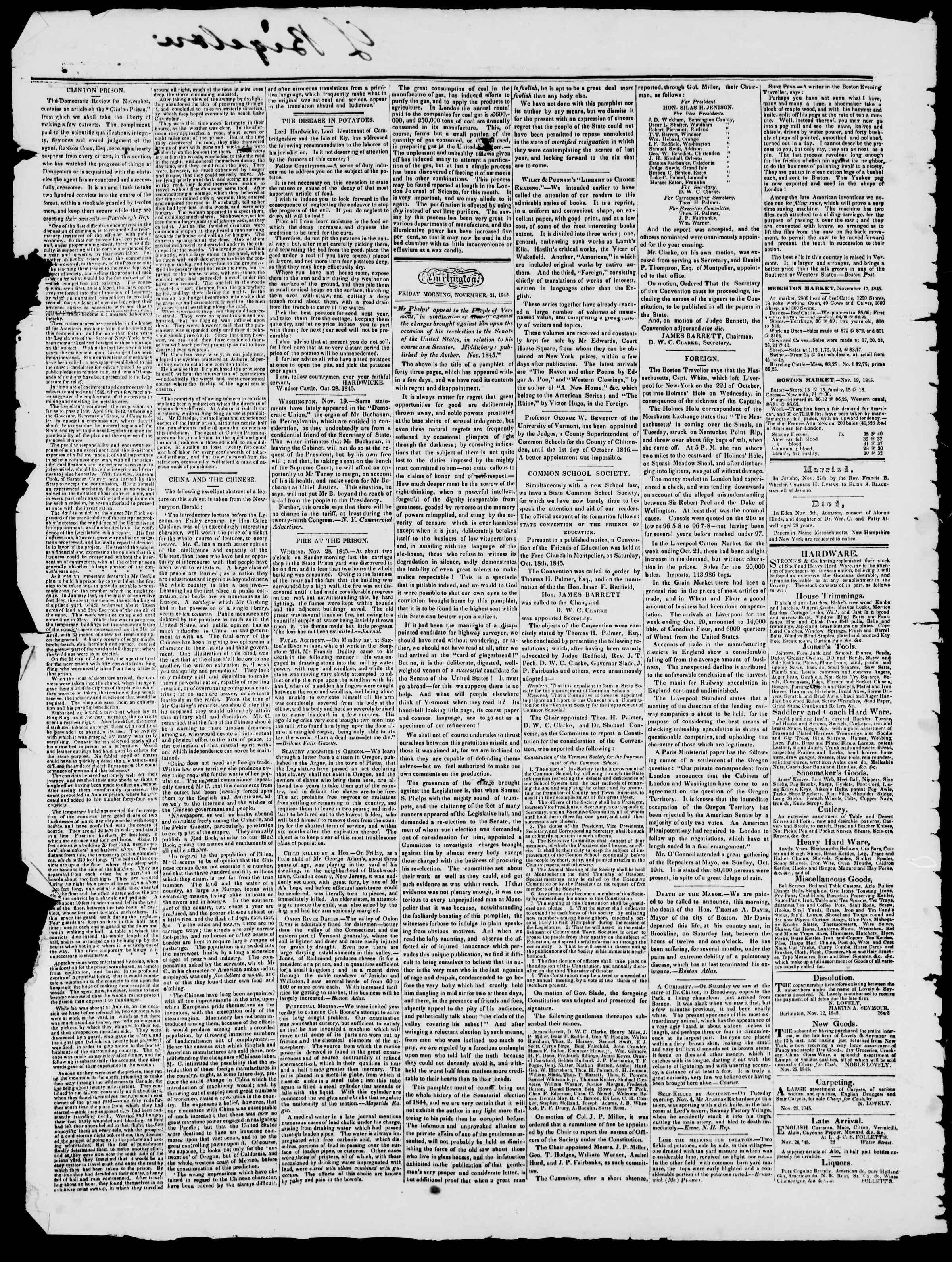 Newspaper of Burlington Free Press dated November 28, 1845 Page 2