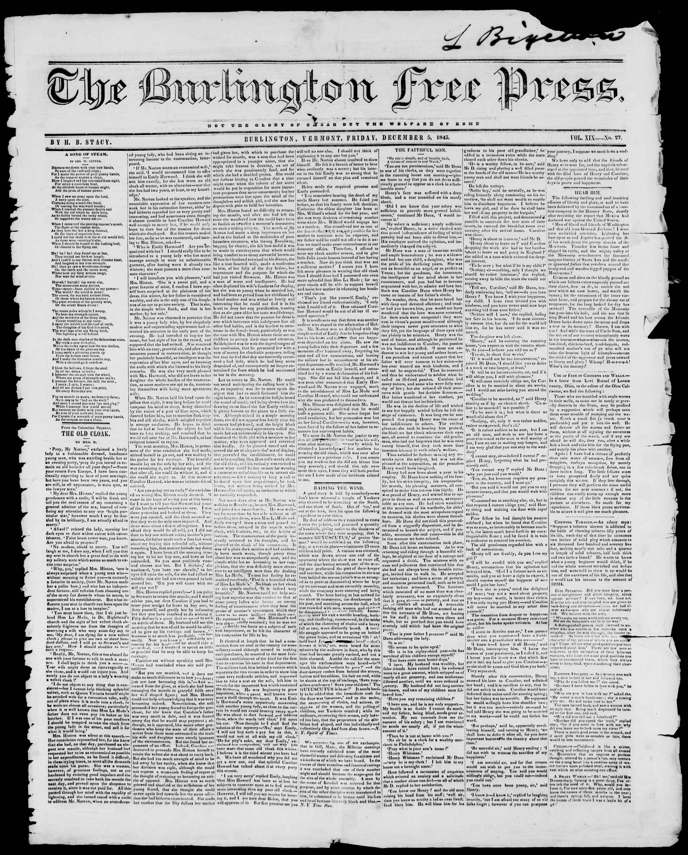 Newspaper of Burlington Free Press dated December 5, 1845 Page 1