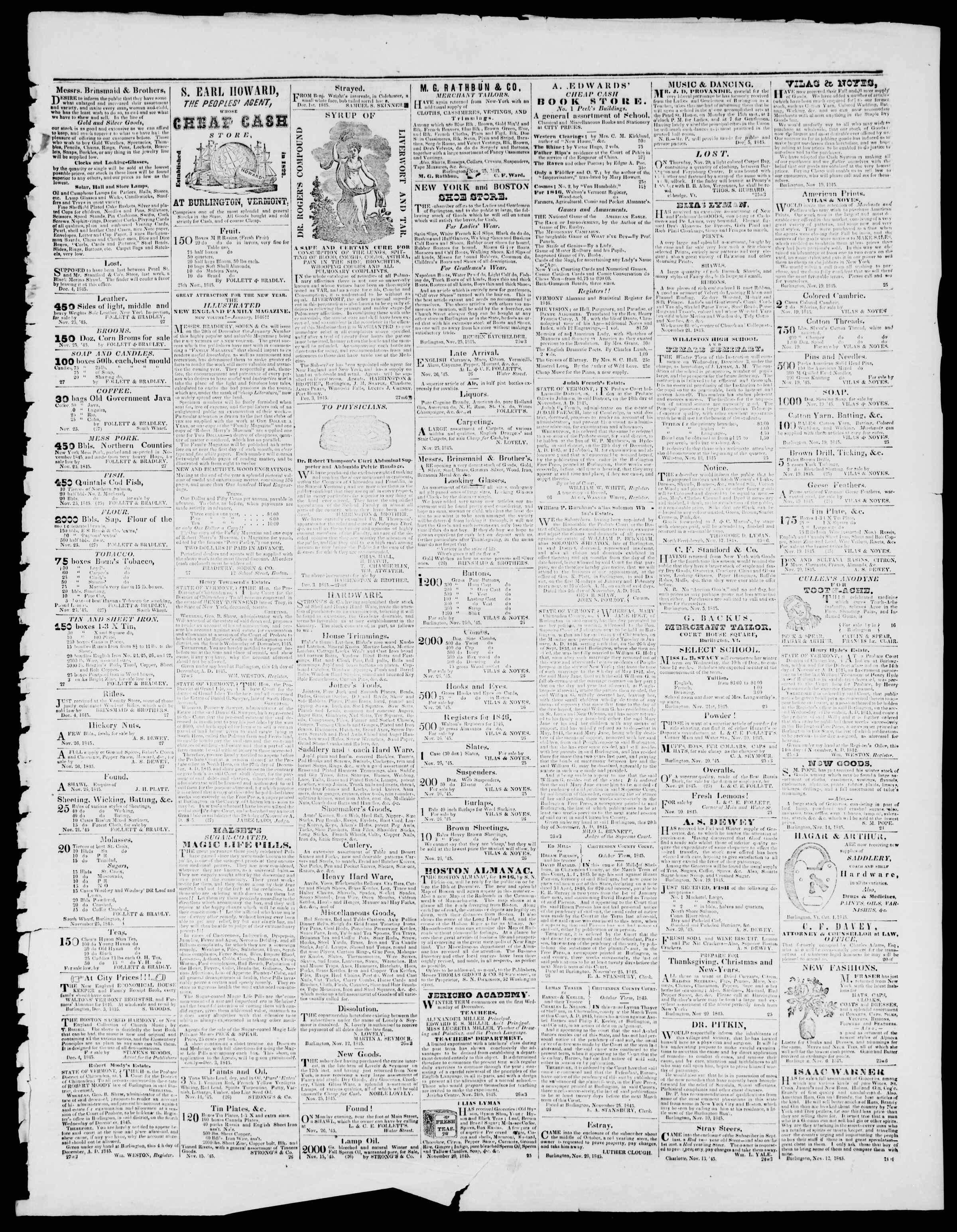 Newspaper of Burlington Free Press dated December 5, 1845 Page 3