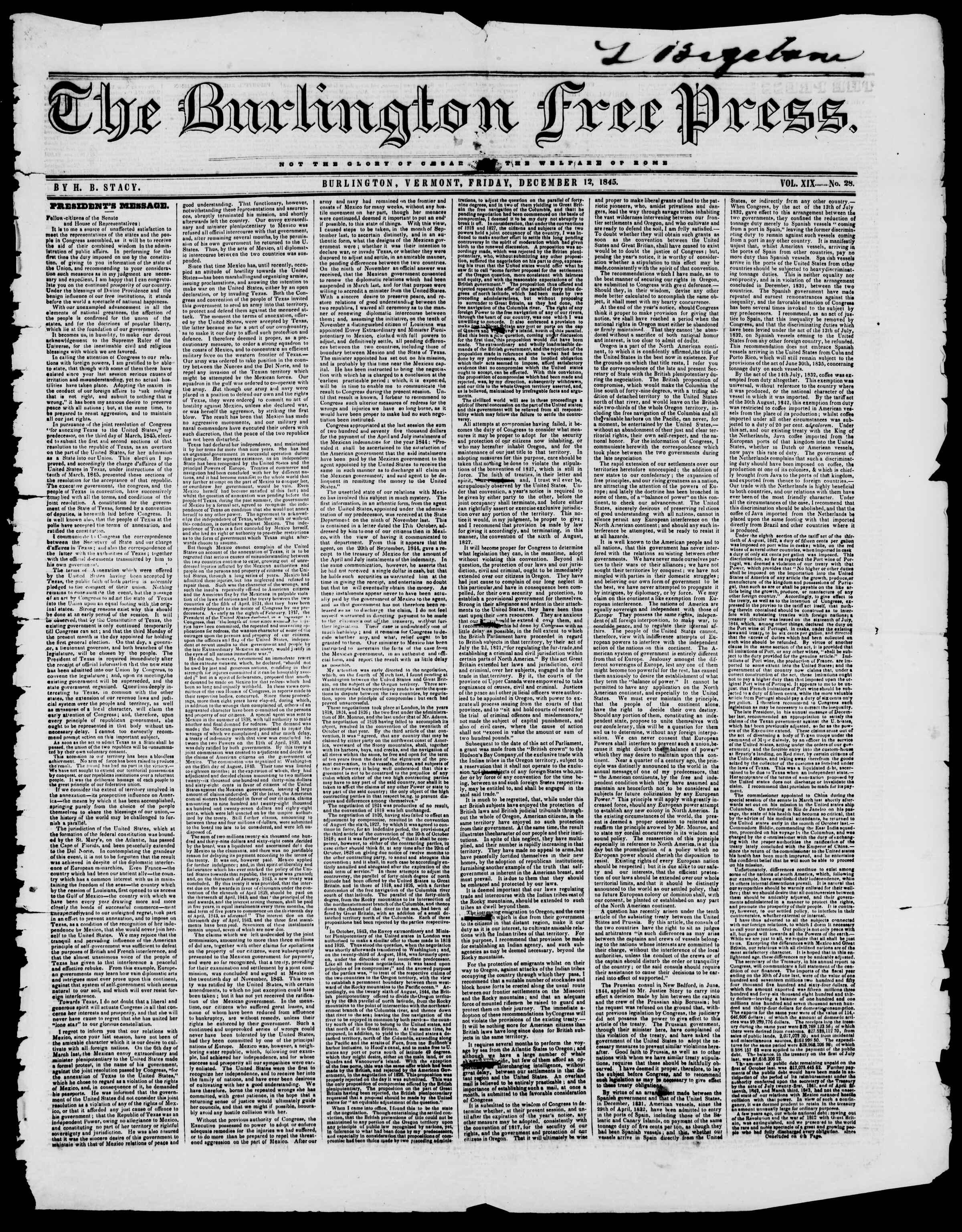 Newspaper of Burlington Free Press dated December 12, 1845 Page 1