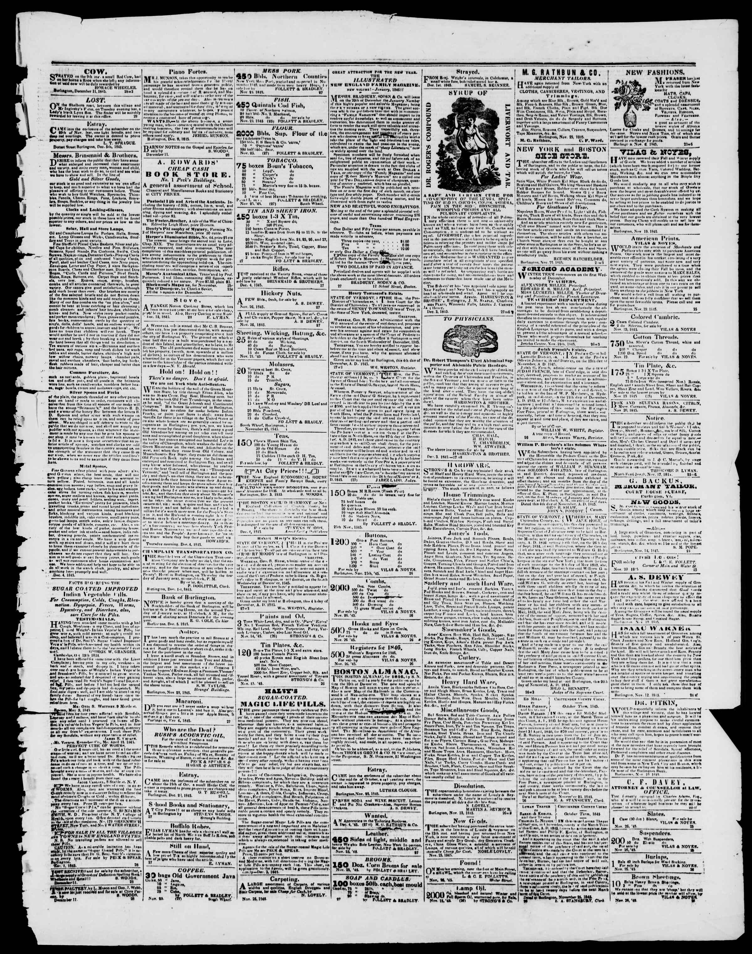 Newspaper of Burlington Free Press dated December 12, 1845 Page 3