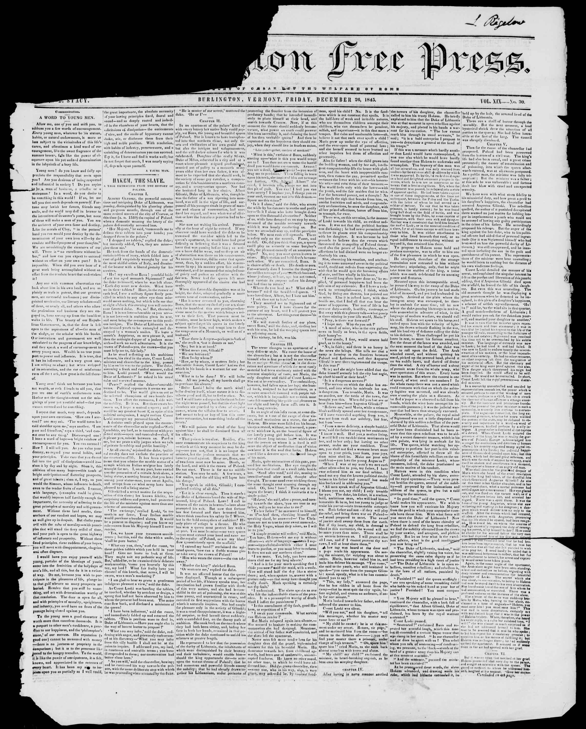 Newspaper of Burlington Free Press dated December 26, 1845 Page 1