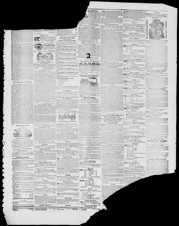 Newspaper of Burlington Free Press dated December 26, 1845 Page 3