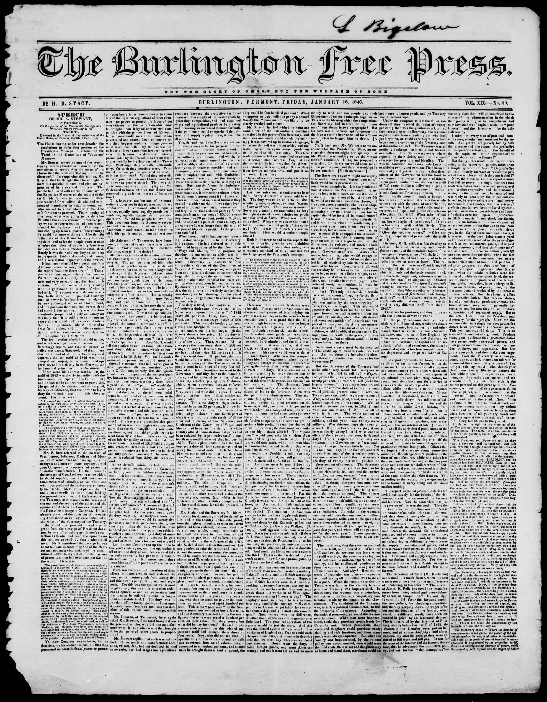 Newspaper of Burlington Free Press dated January 16, 1846 Page 1