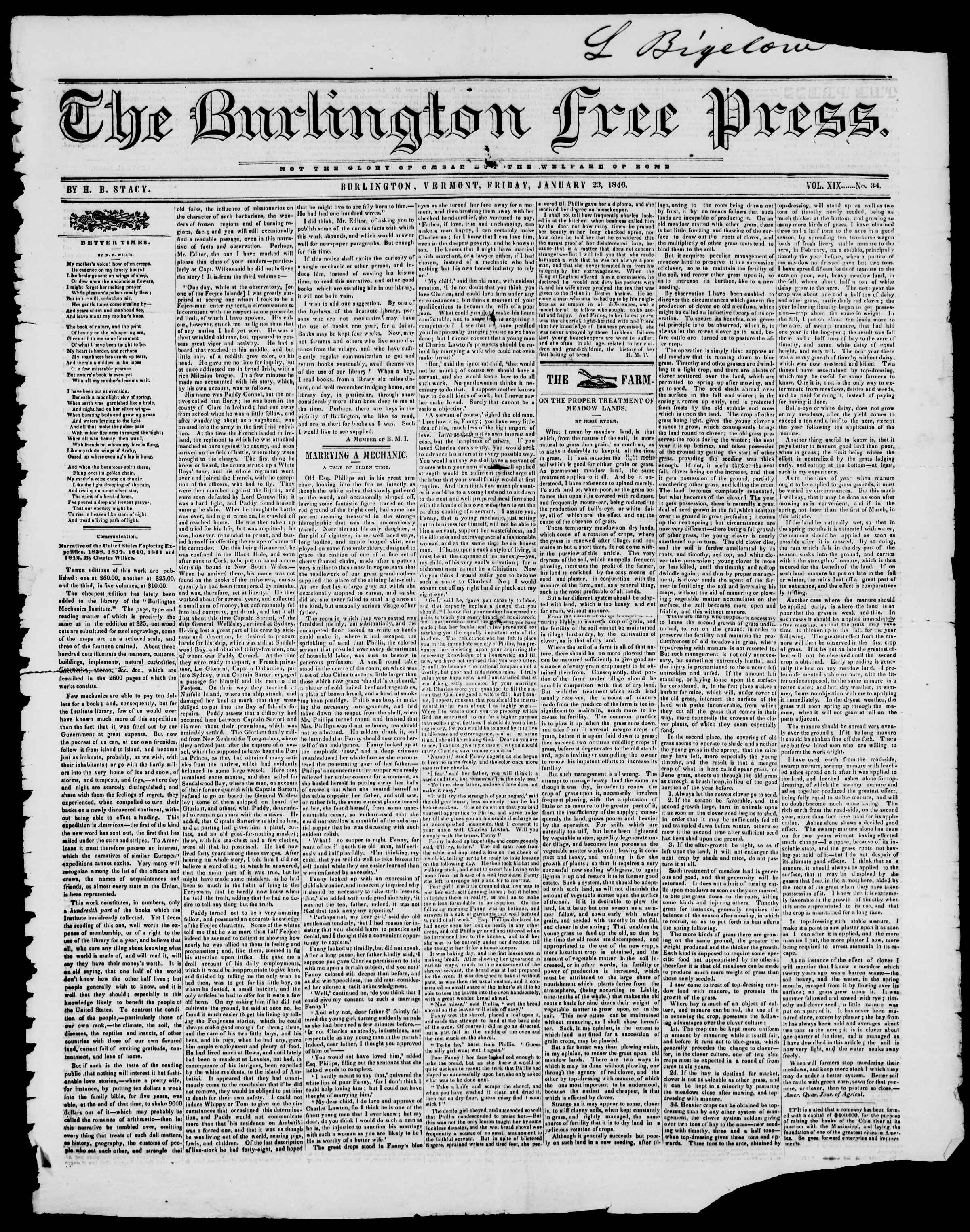 Newspaper of Burlington Free Press dated January 23, 1846 Page 1