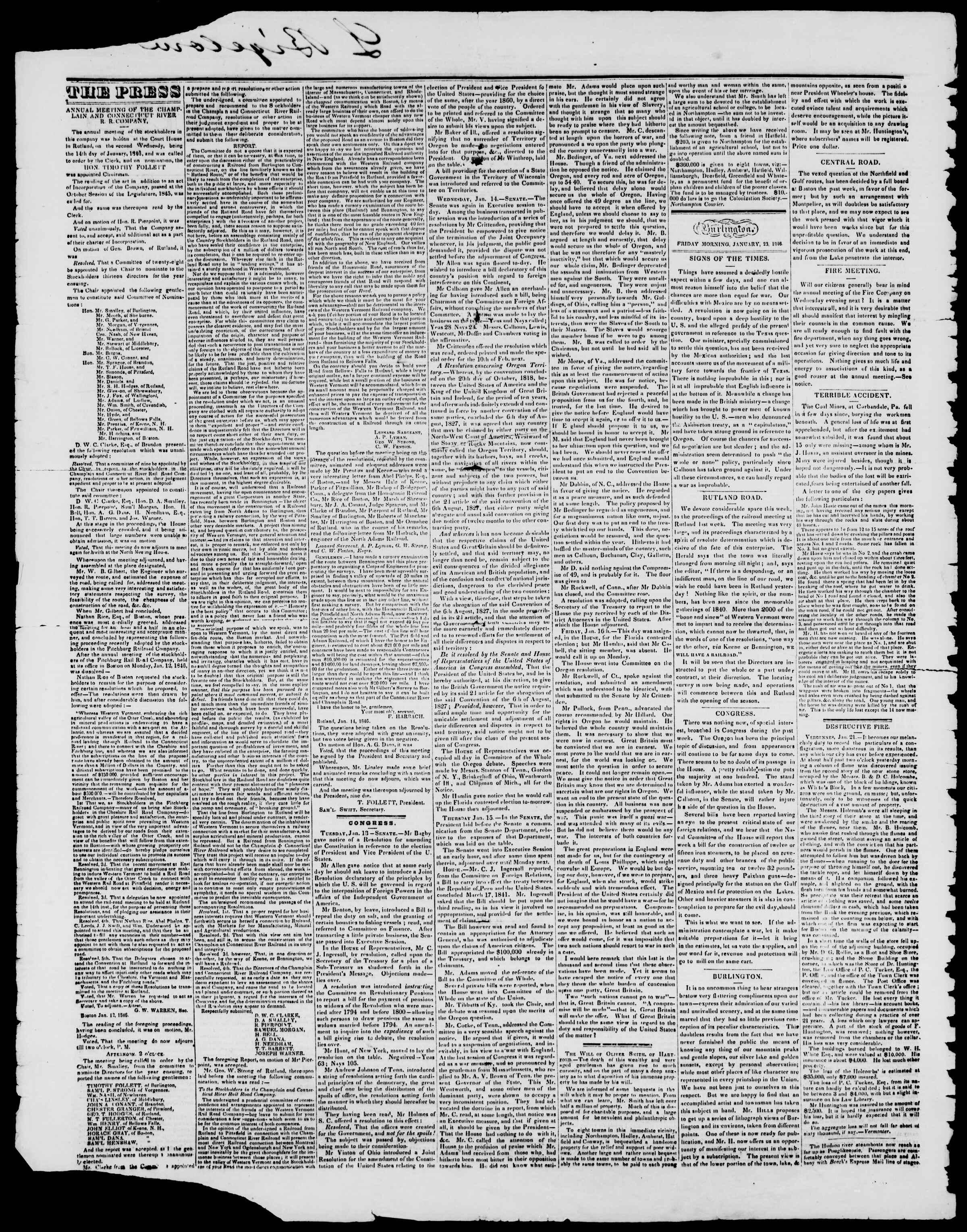Newspaper of Burlington Free Press dated January 23, 1846 Page 2