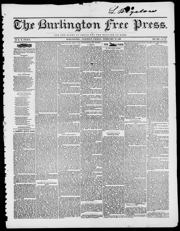Newspaper of Burlington Free Press dated 13 Şubat 1846 Page 1