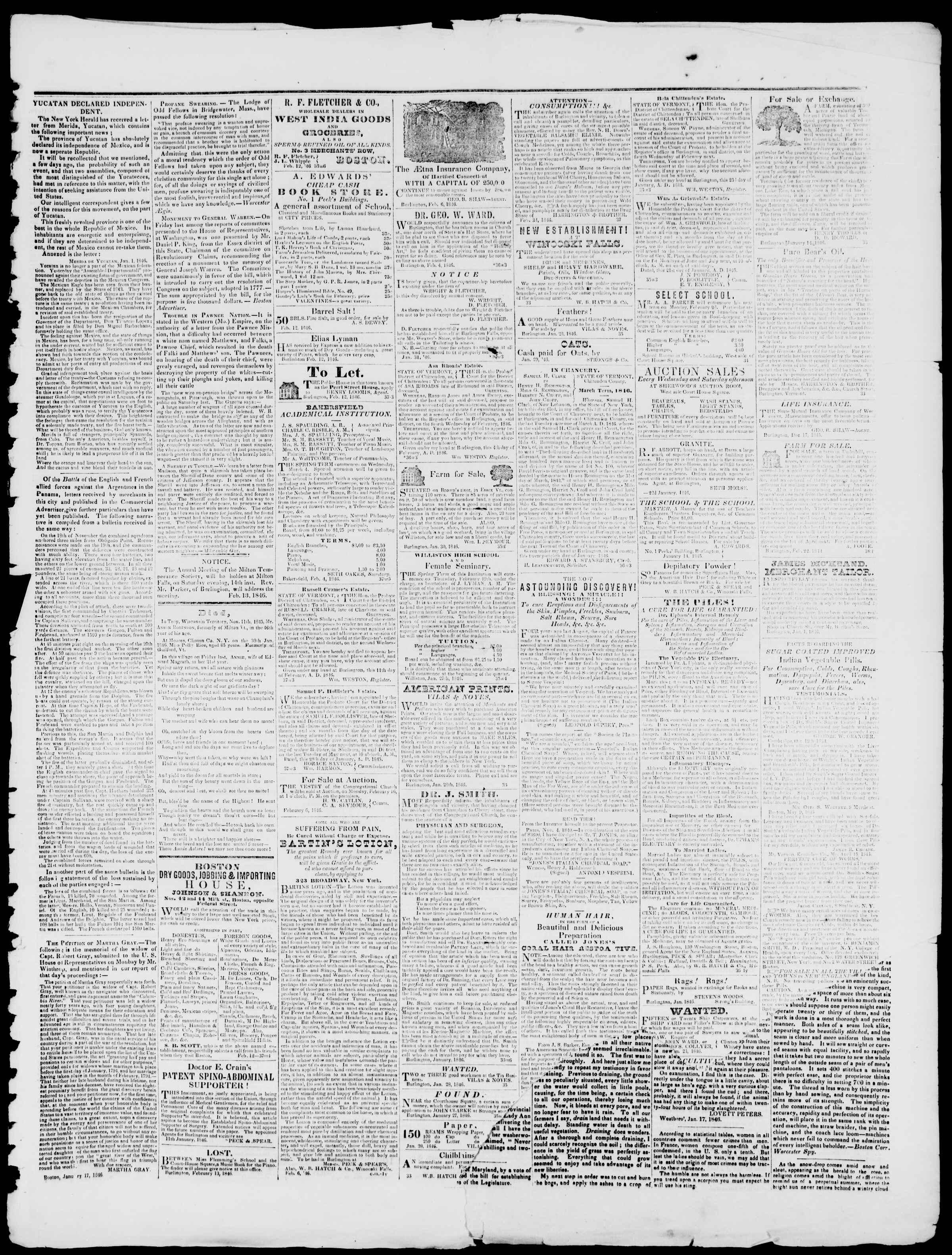 Newspaper of Burlington Free Press dated February 13, 1846 Page 3