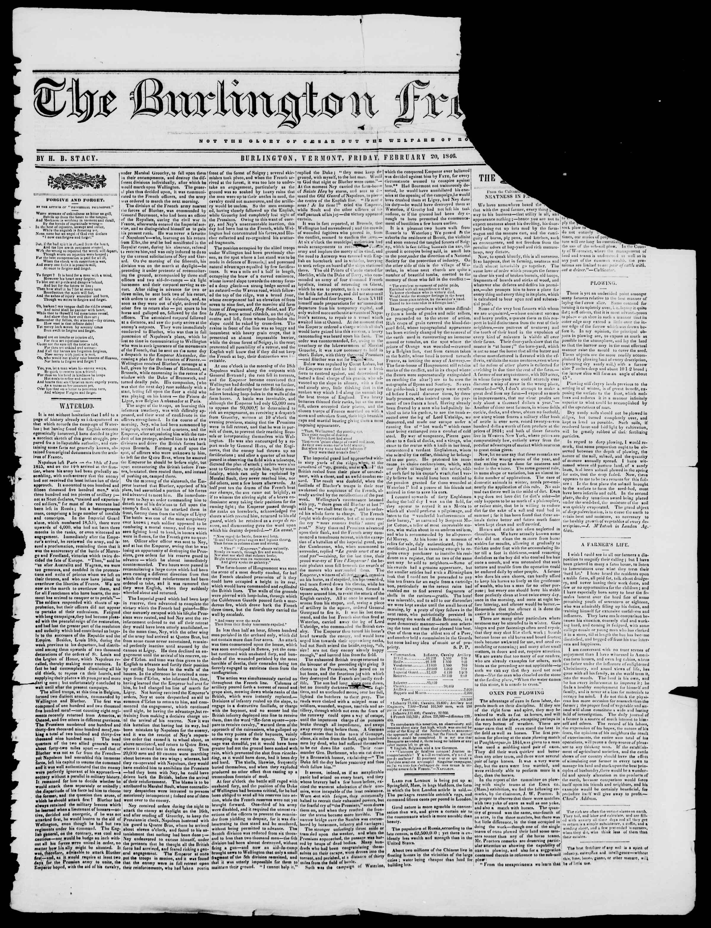 Newspaper of Burlington Free Press dated February 20, 1846 Page 1