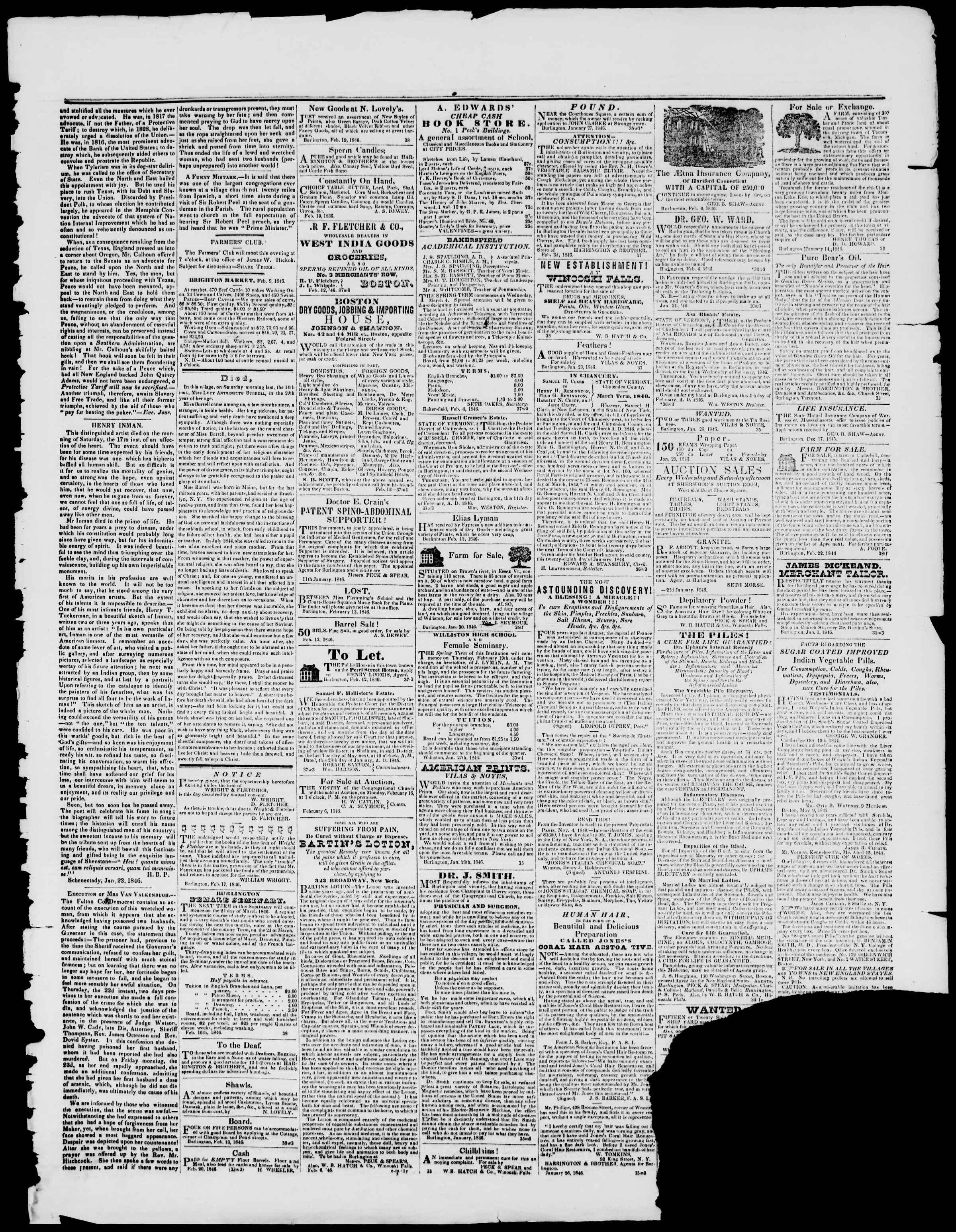 Newspaper of Burlington Free Press dated February 20, 1846 Page 3