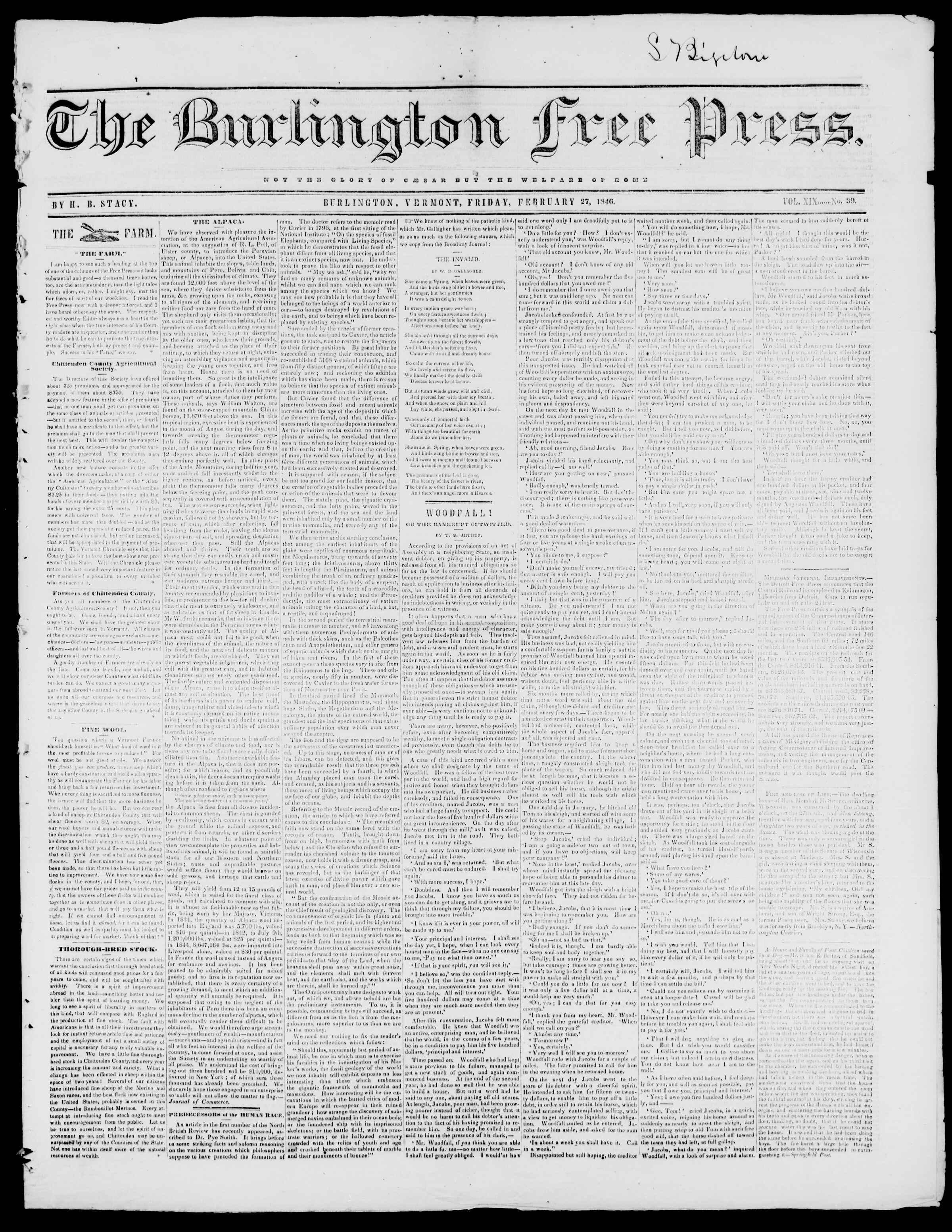 Newspaper of Burlington Free Press dated February 27, 1846 Page 1