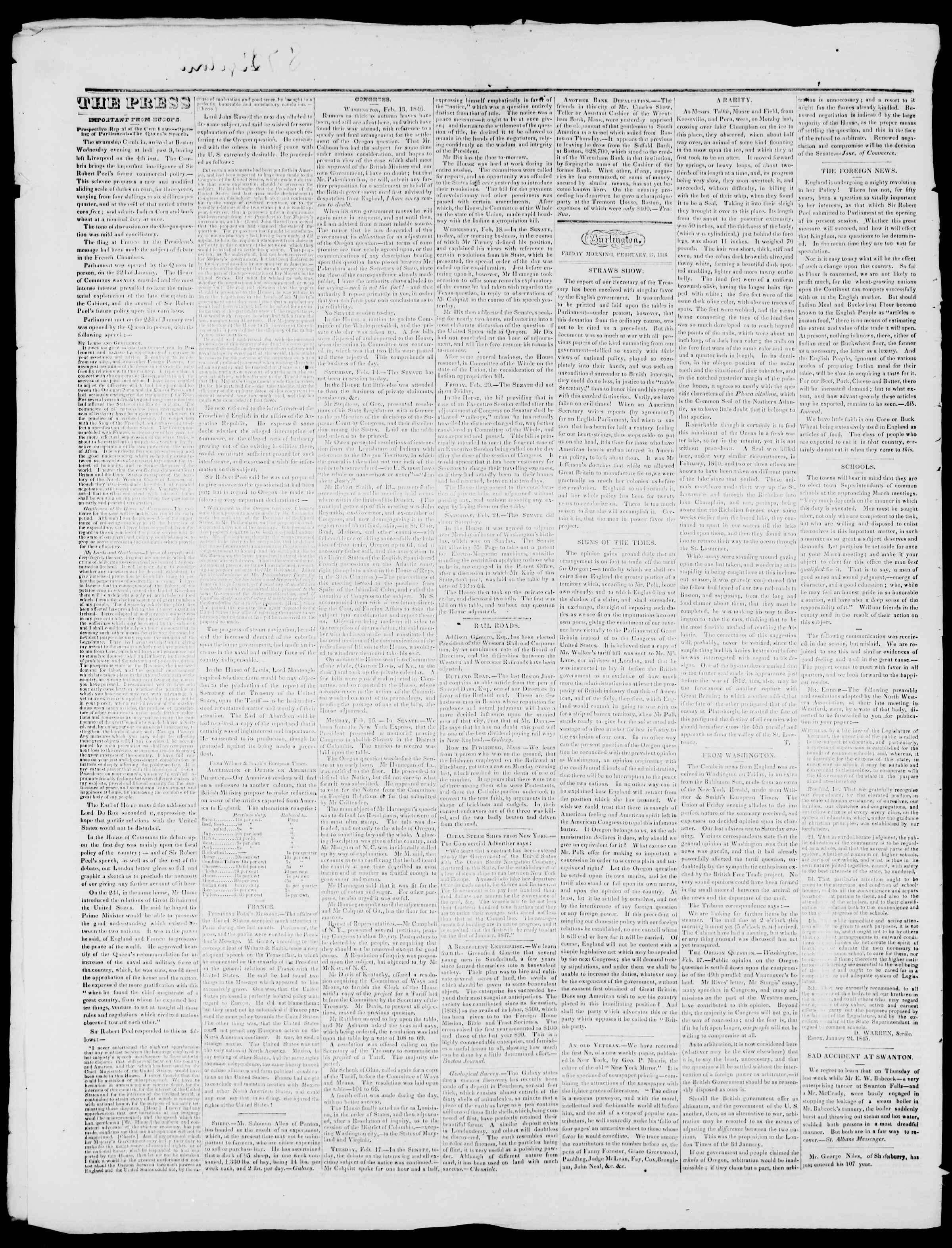 Newspaper of Burlington Free Press dated February 27, 1846 Page 2