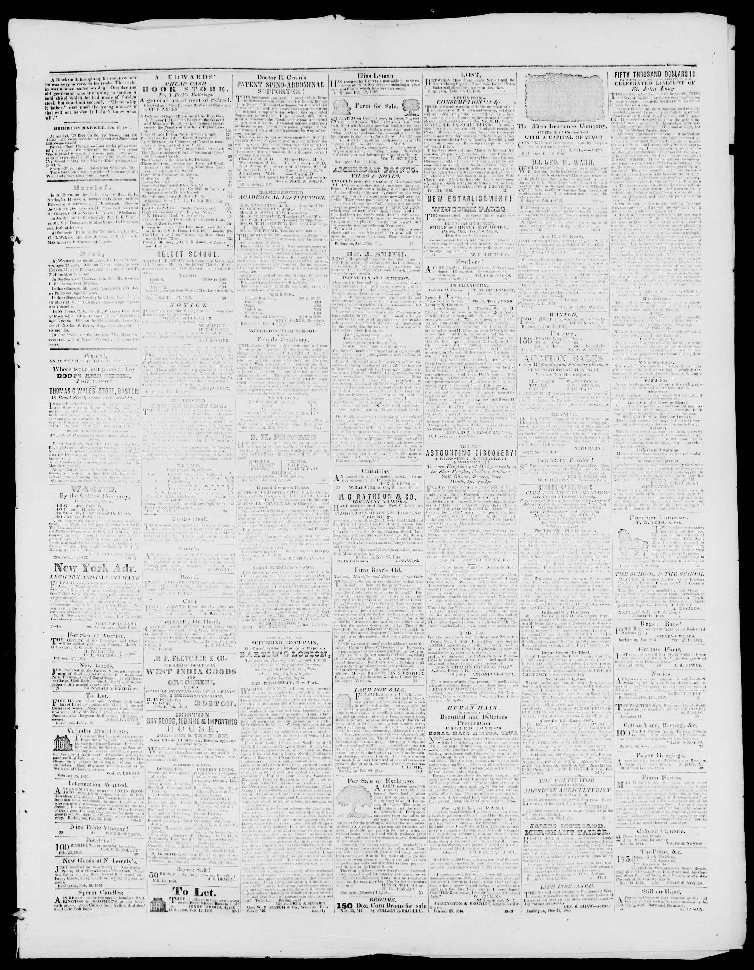 Newspaper of Burlington Free Press dated February 27, 1846 Page 3