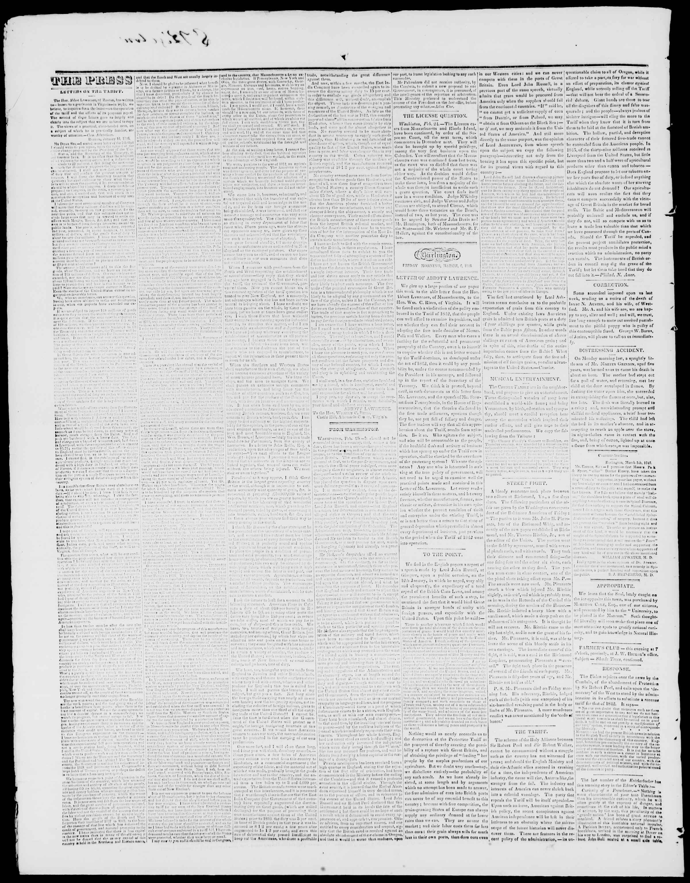 Newspaper of Burlington Free Press dated March 6, 1846 Page 2